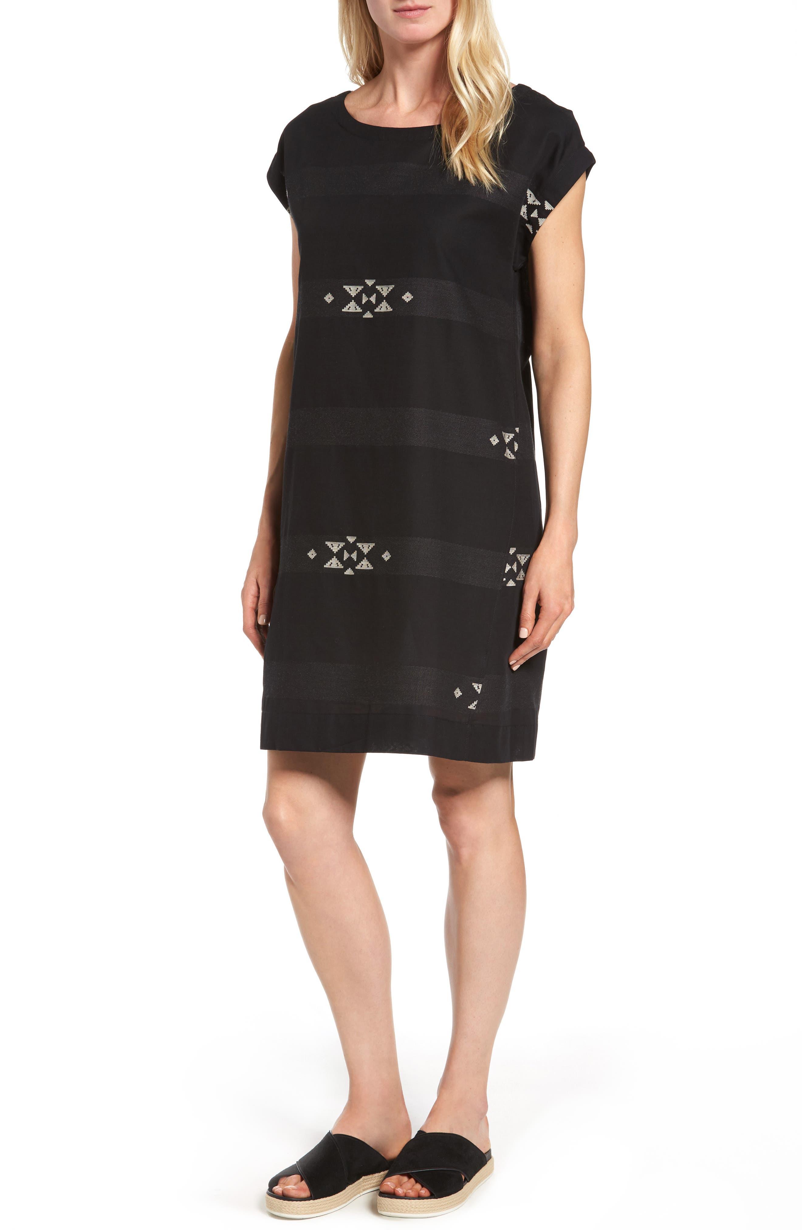 Main Image - Eileen Fisher Cotton Jacquard Shirt Dress (Regular & Petite)