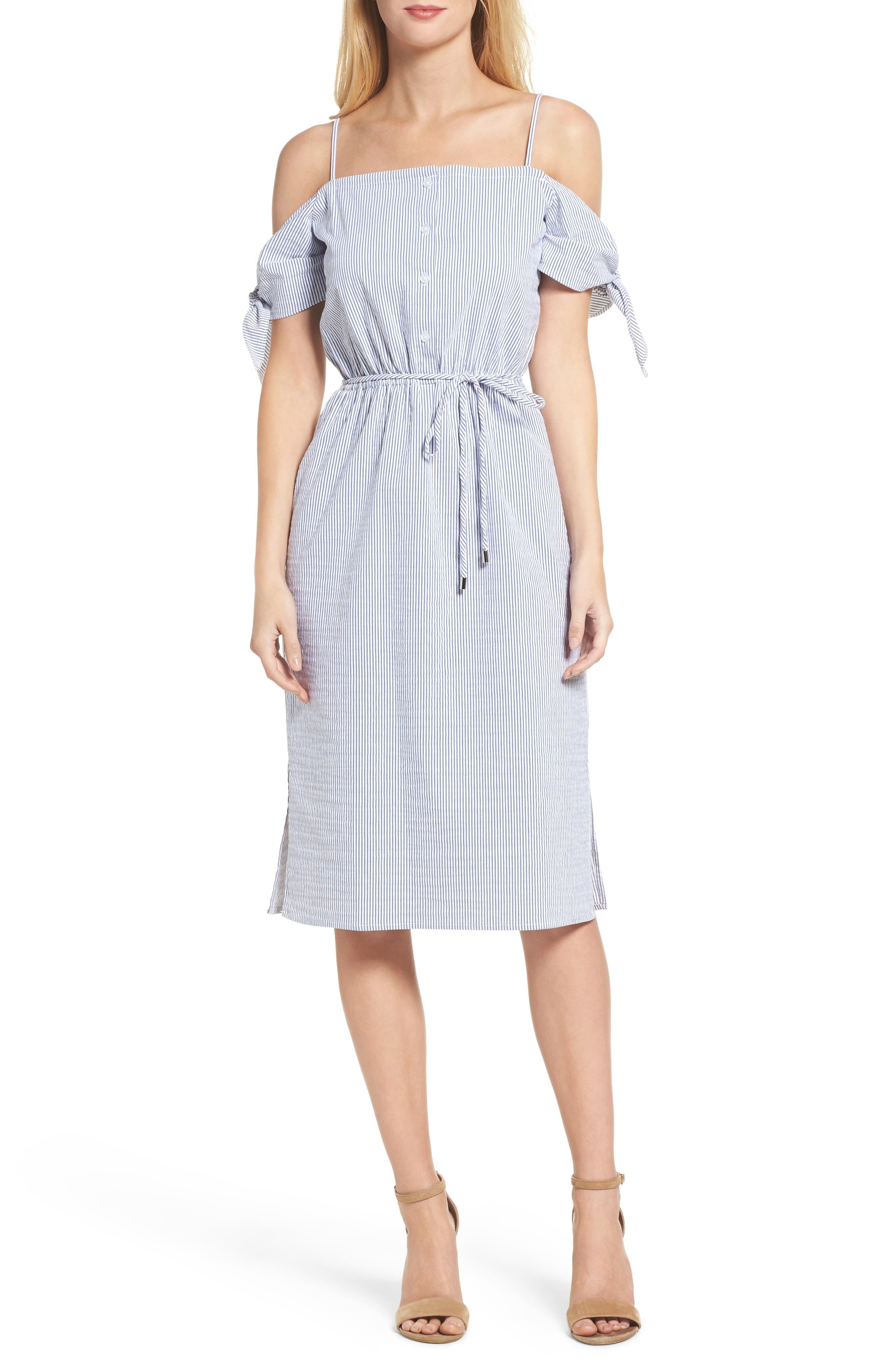 Off the Shoulder Dress,                         Main,                         color, Blue/ White