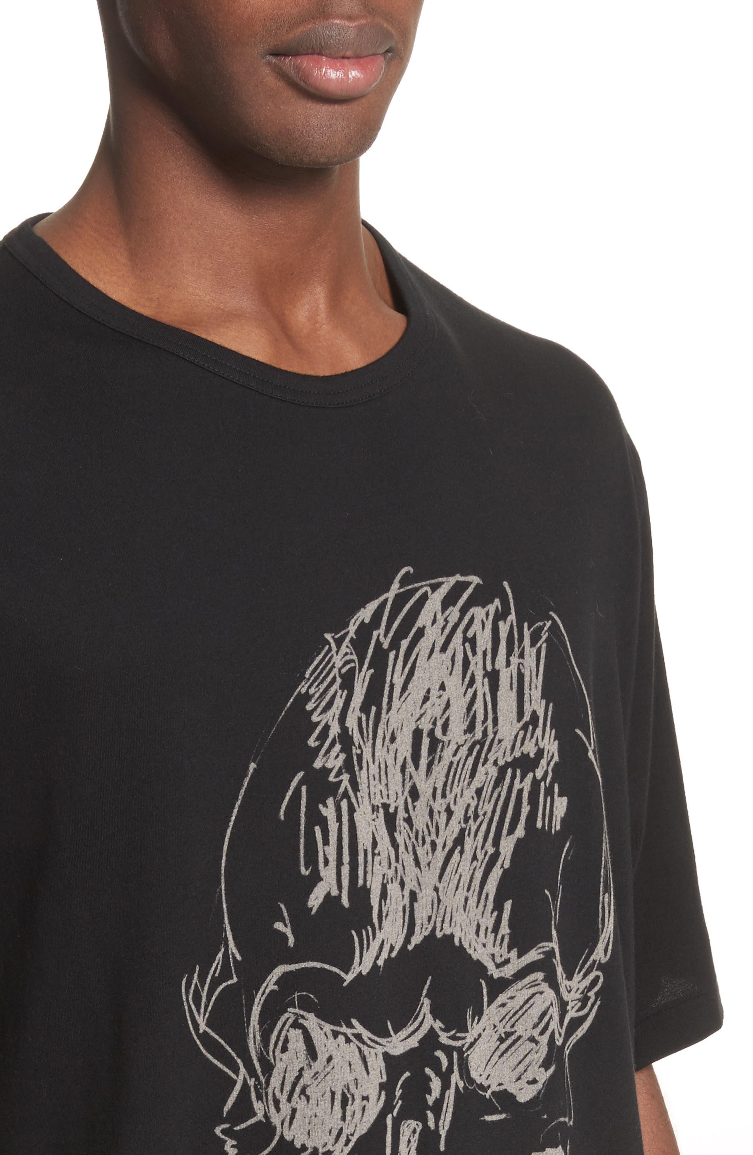 Oversize Skull Graphic T-Shirt,                             Alternate thumbnail 4, color,                             Black
