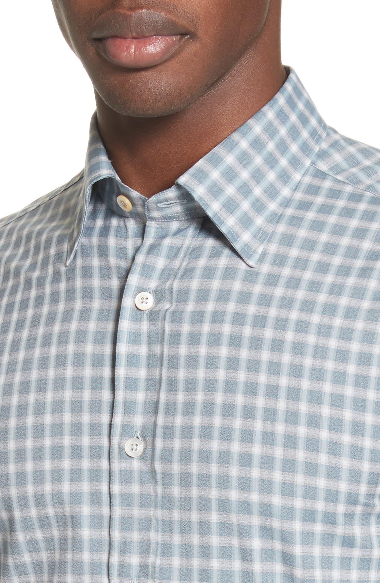 Alternate Image 4  - Canali Gradient Check Sport Shirt