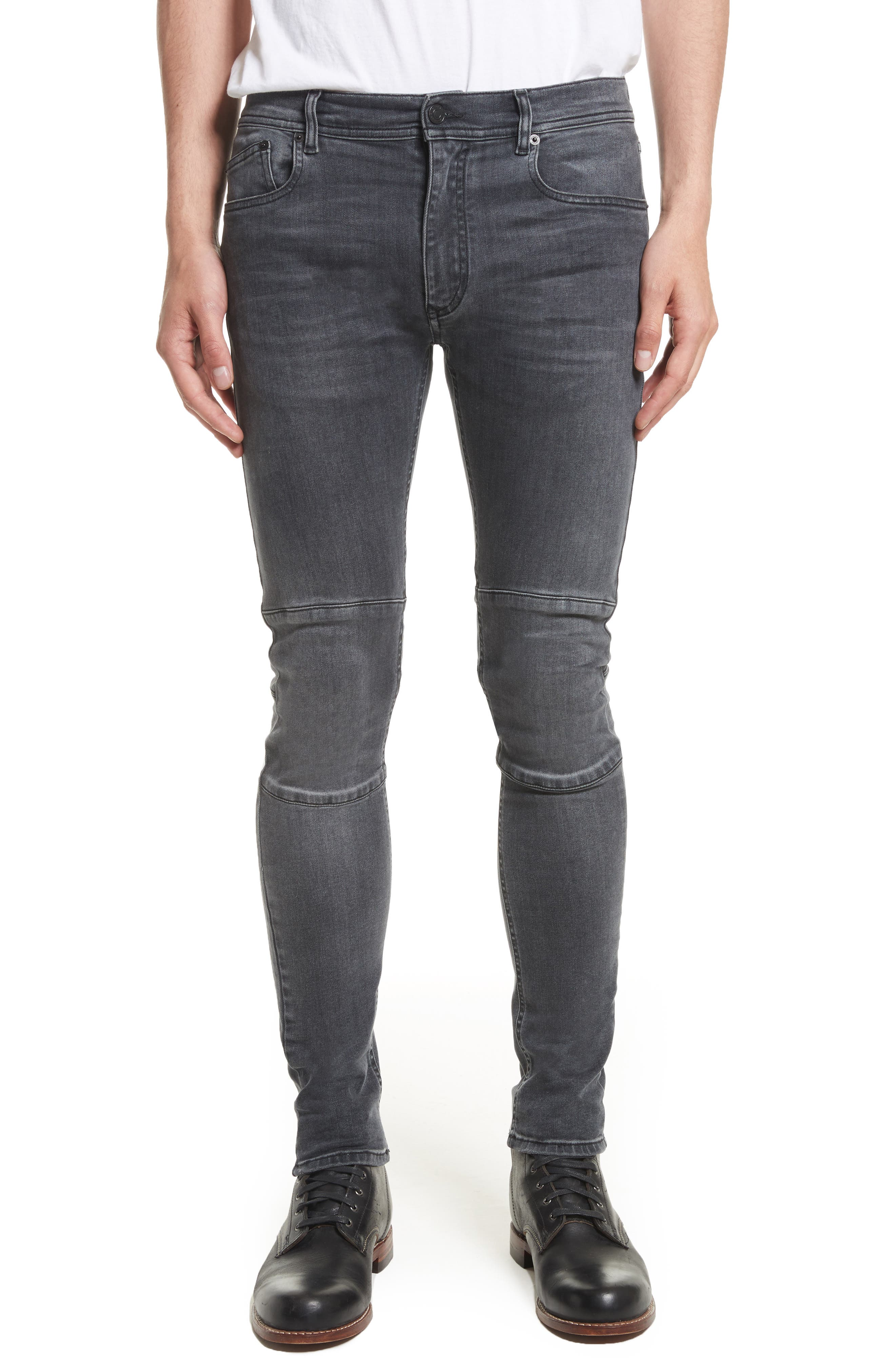 Tattenhall Washed Denim Skinny Jeans,                         Main,                         color, Charcoal