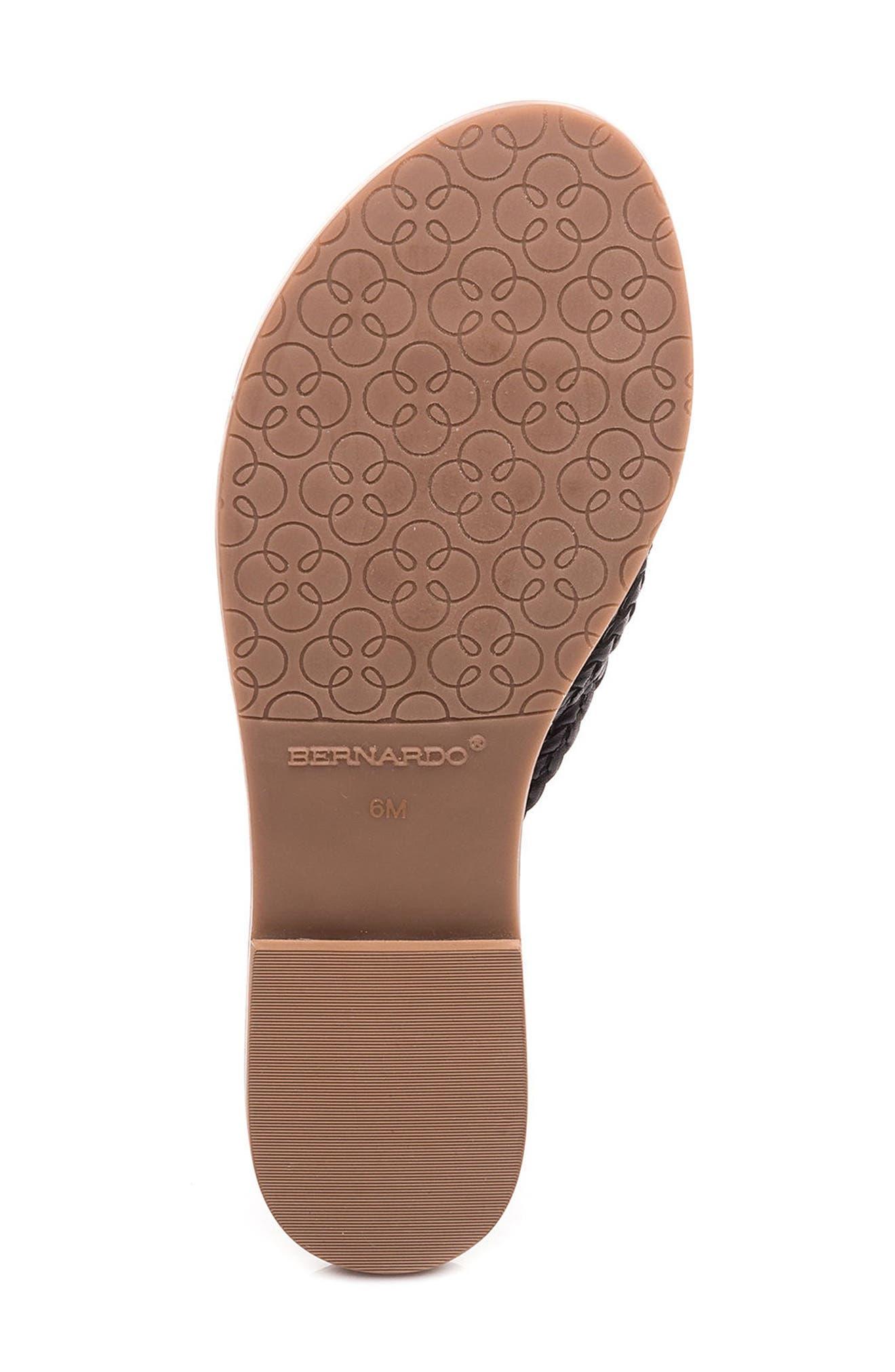 Bernardo Greta Braided Strap Sandal,                             Alternate thumbnail 6, color,                             Black Leather