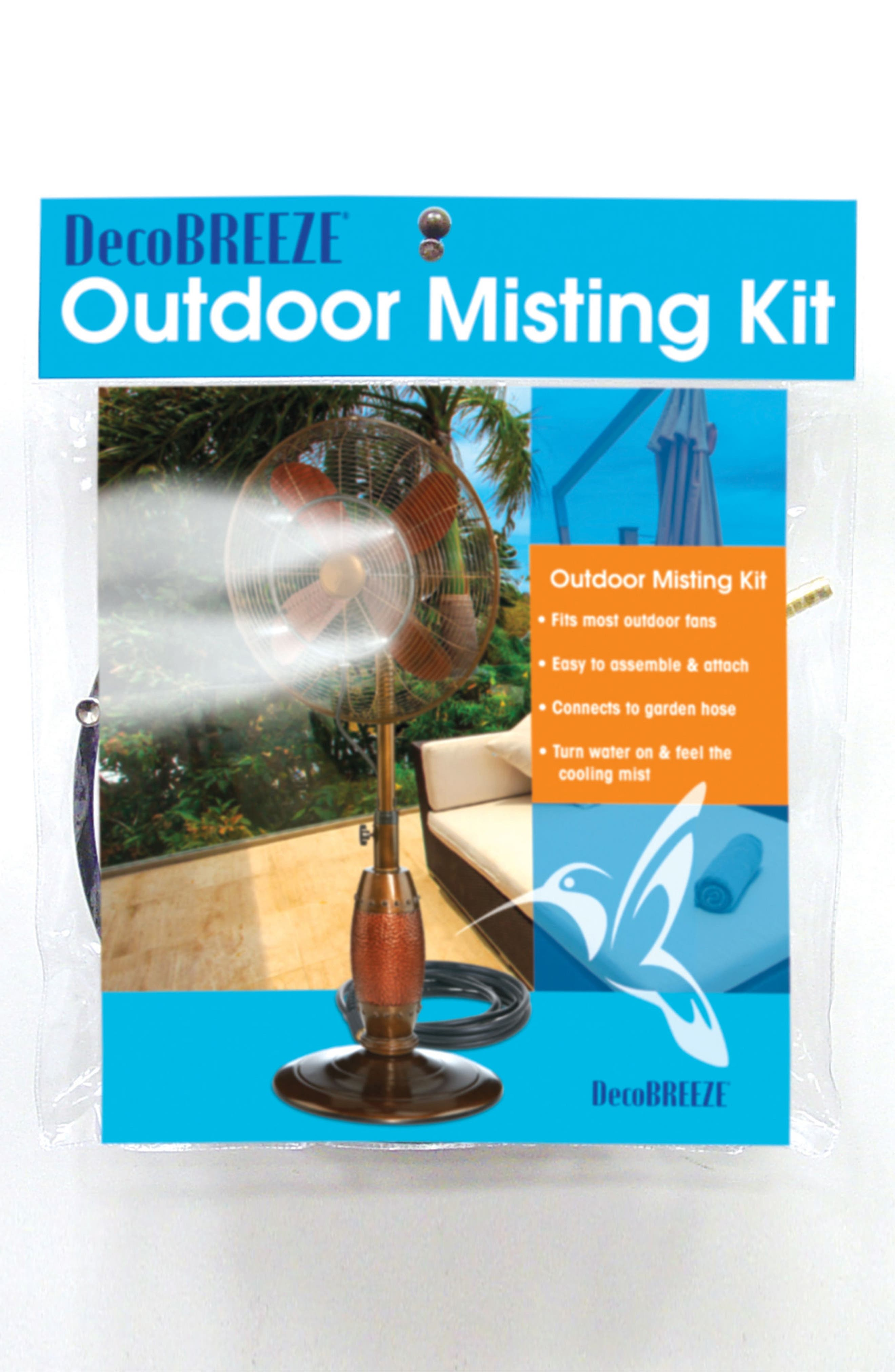 Outdoor Misting Kit Fan Attachment,                         Main,                         color, Black/ Clear