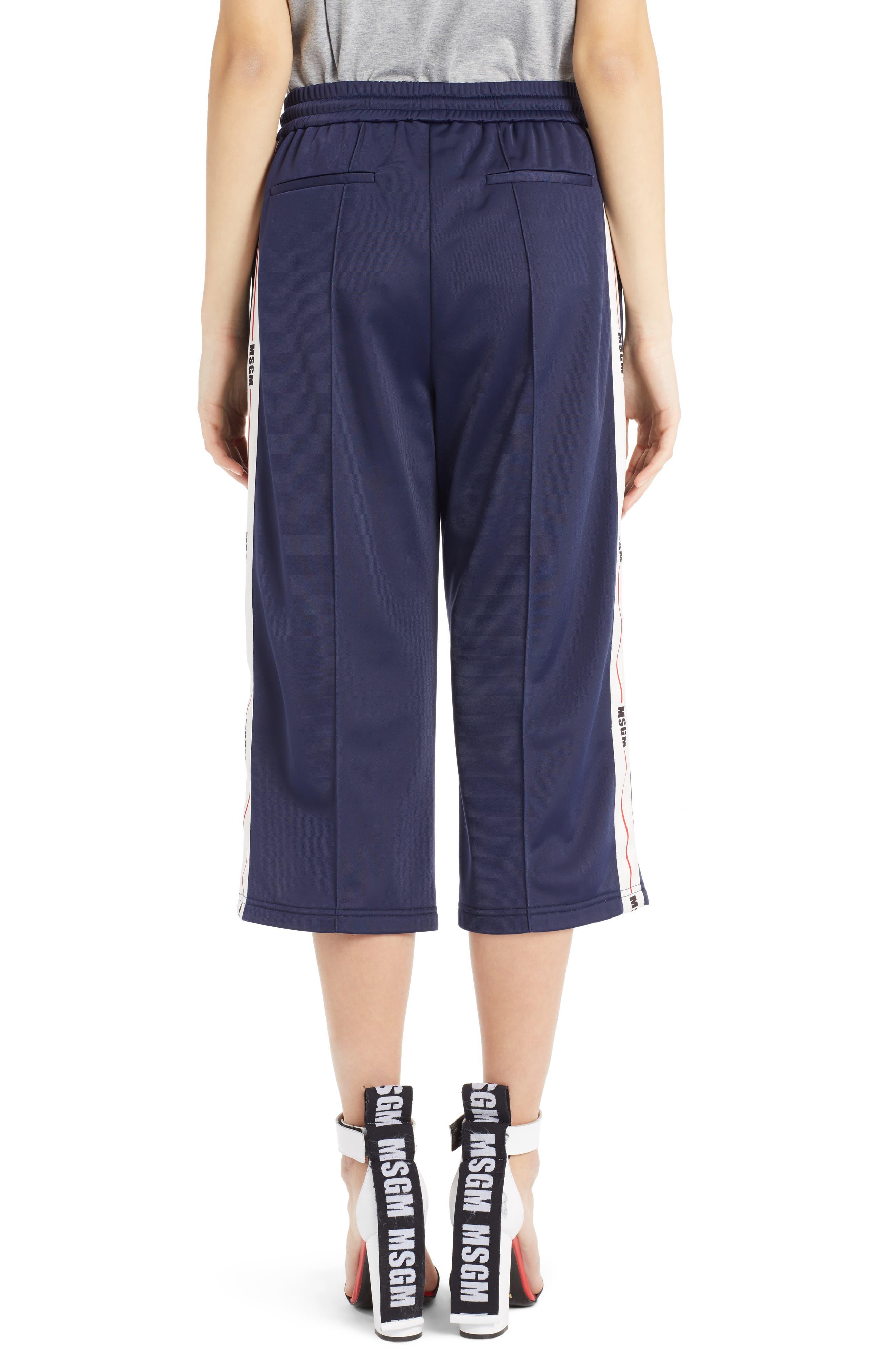 Crop Wide Leg Track Pants,                             Alternate thumbnail 3, color,                             Dark Blue