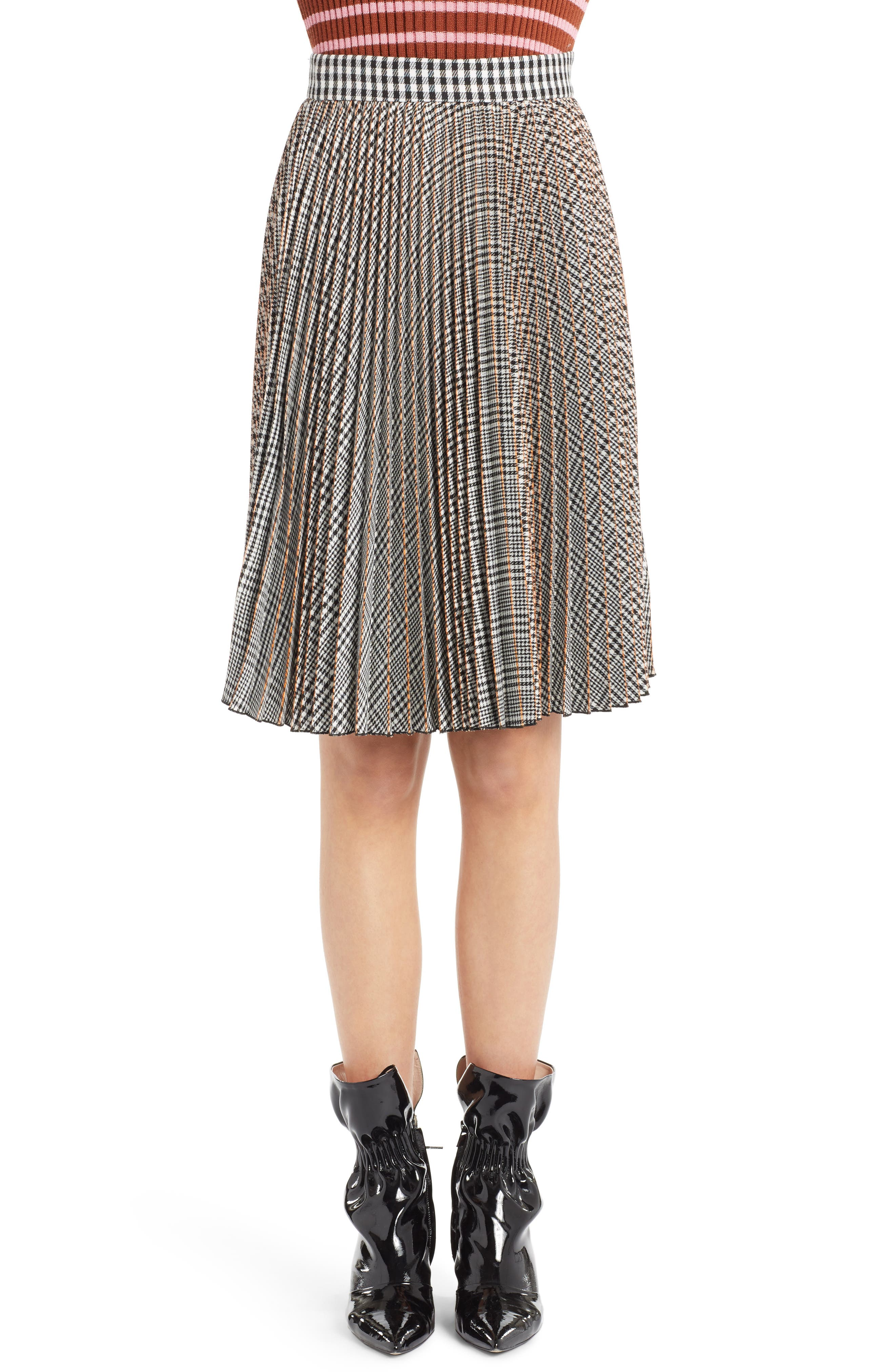 MSGM Plaid Pleated Skirt