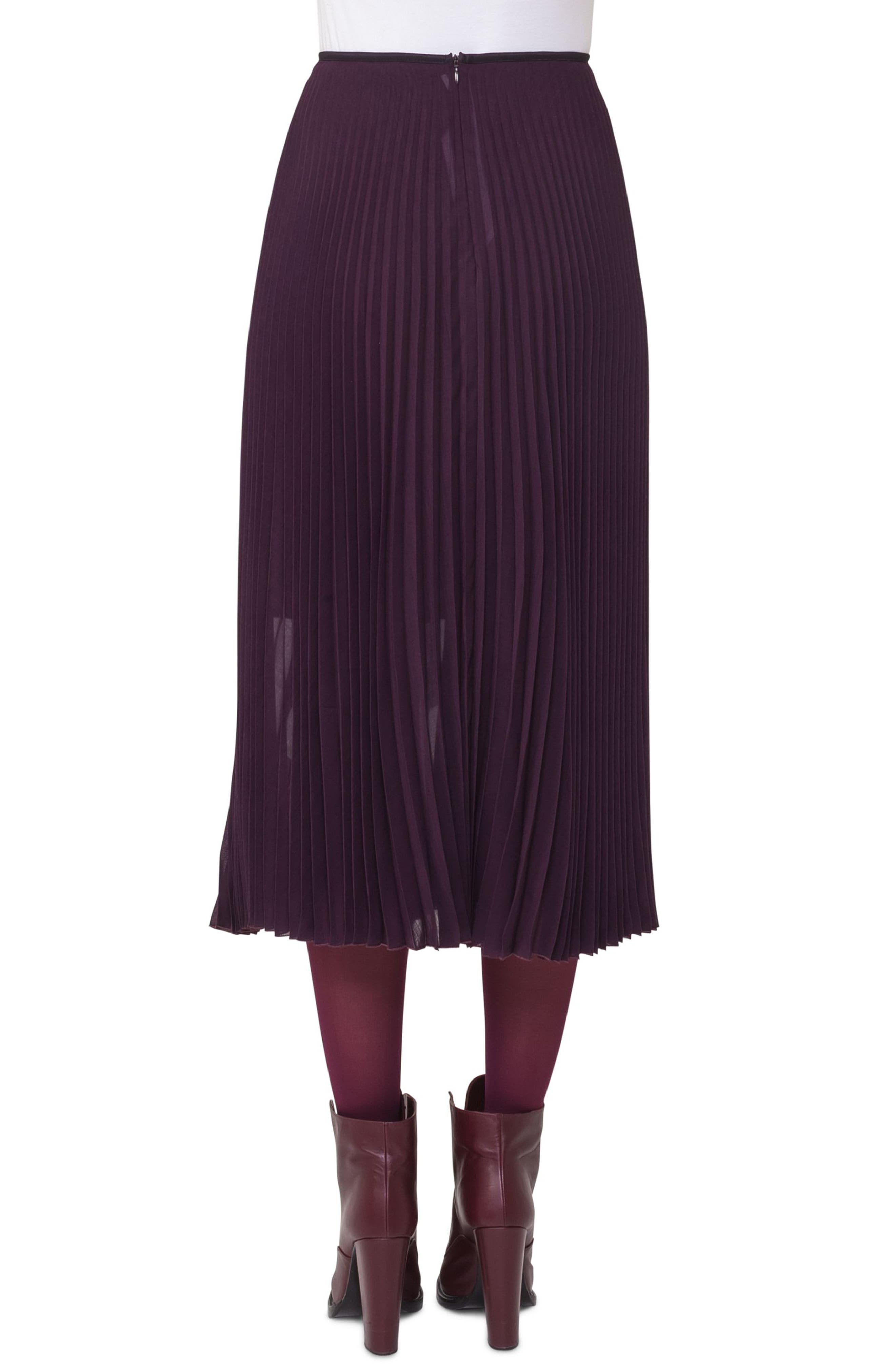 Plissé Midi Skirt,                             Alternate thumbnail 2, color,                             Wine