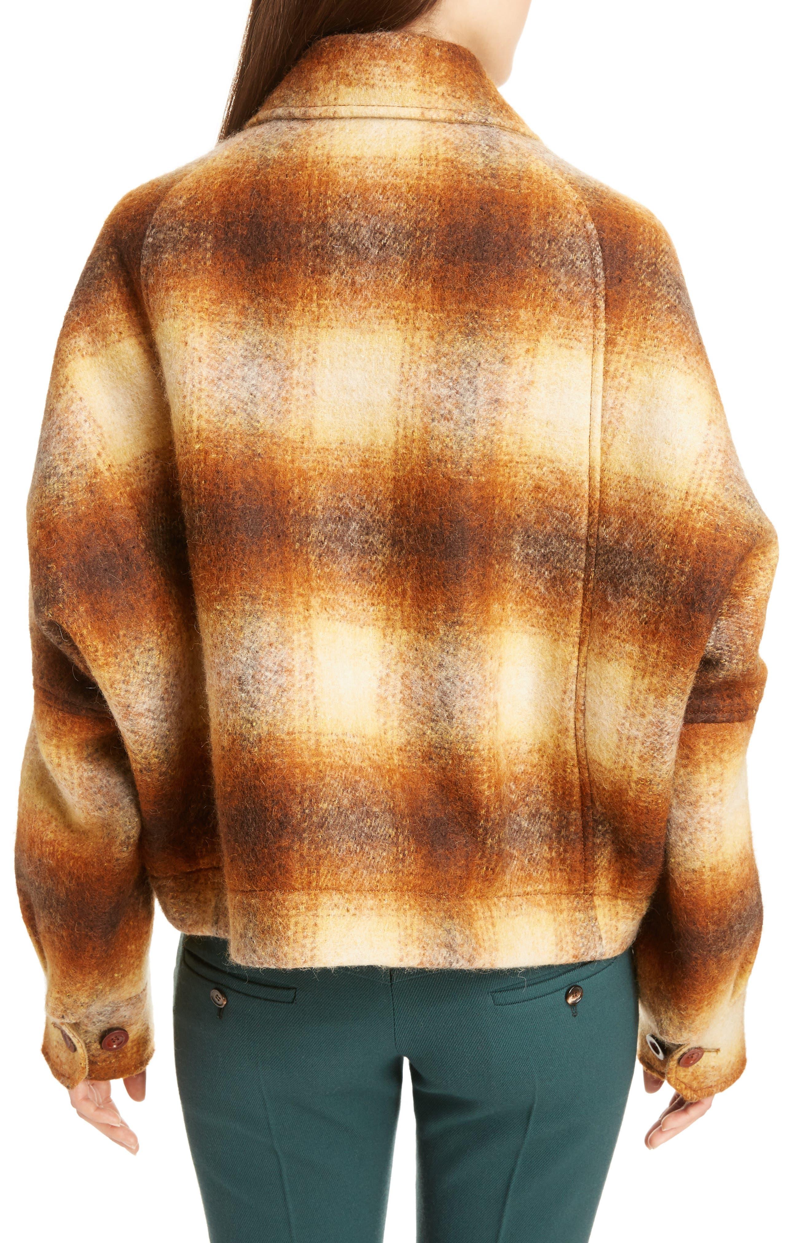Mohair Blend Check Lumber Jacket,                             Alternate thumbnail 3, color,                             Multicolor Brown