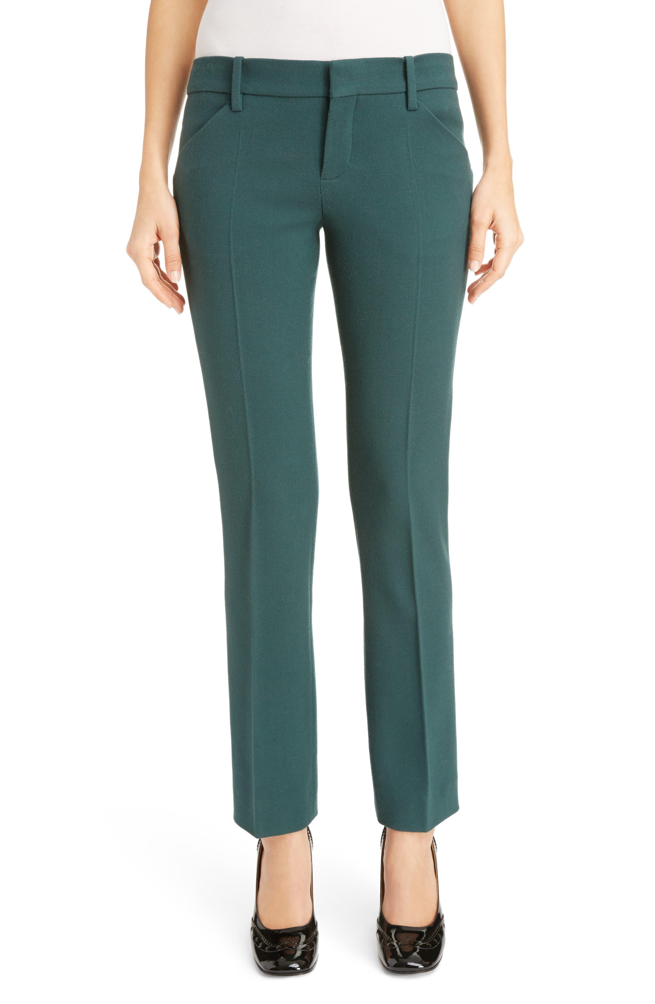 Stretch Wool Straight Leg Pants,                         Main,                         color, Lightless Green