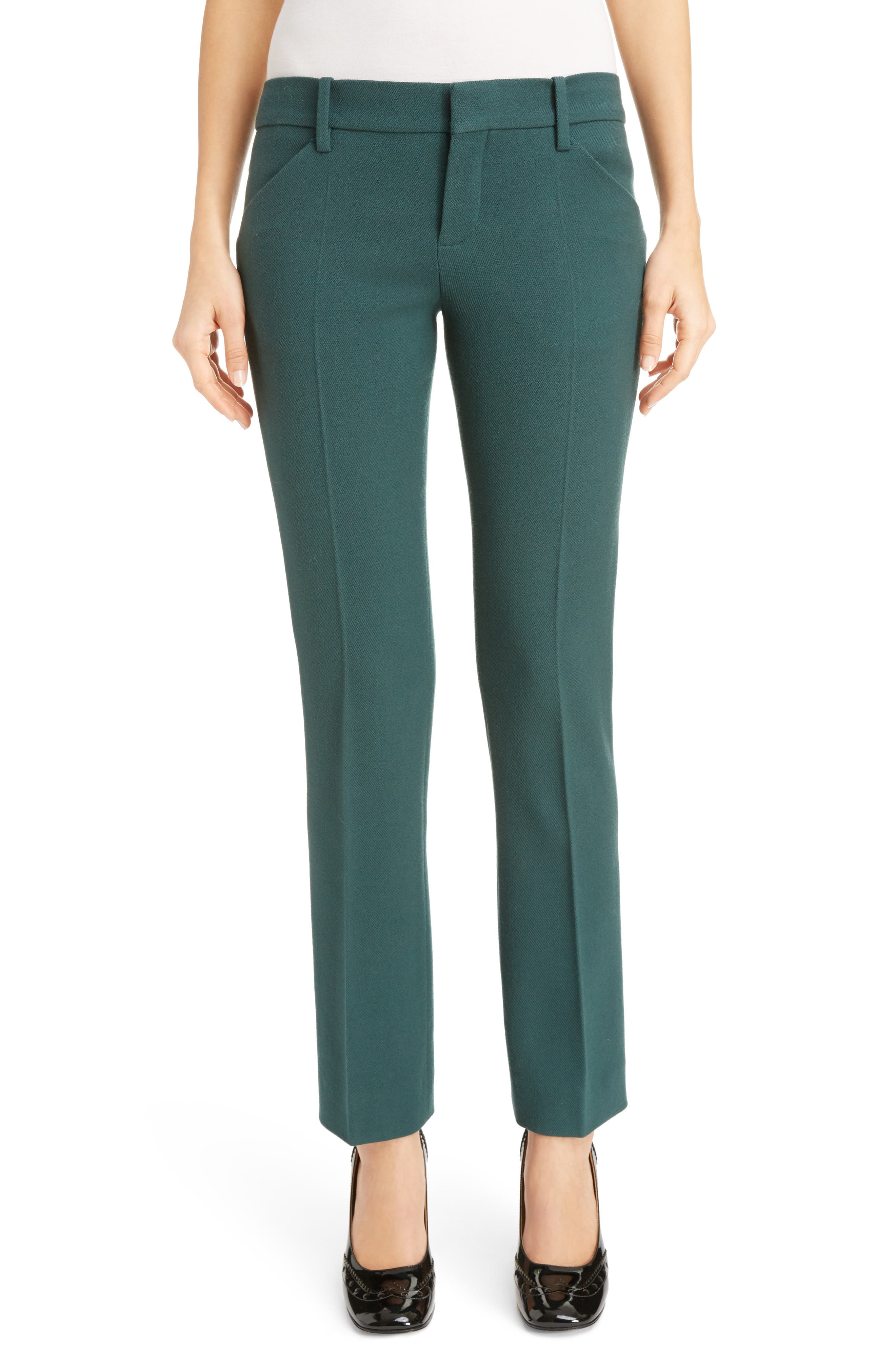 Chloé Stretch Wool Straight Leg Pants