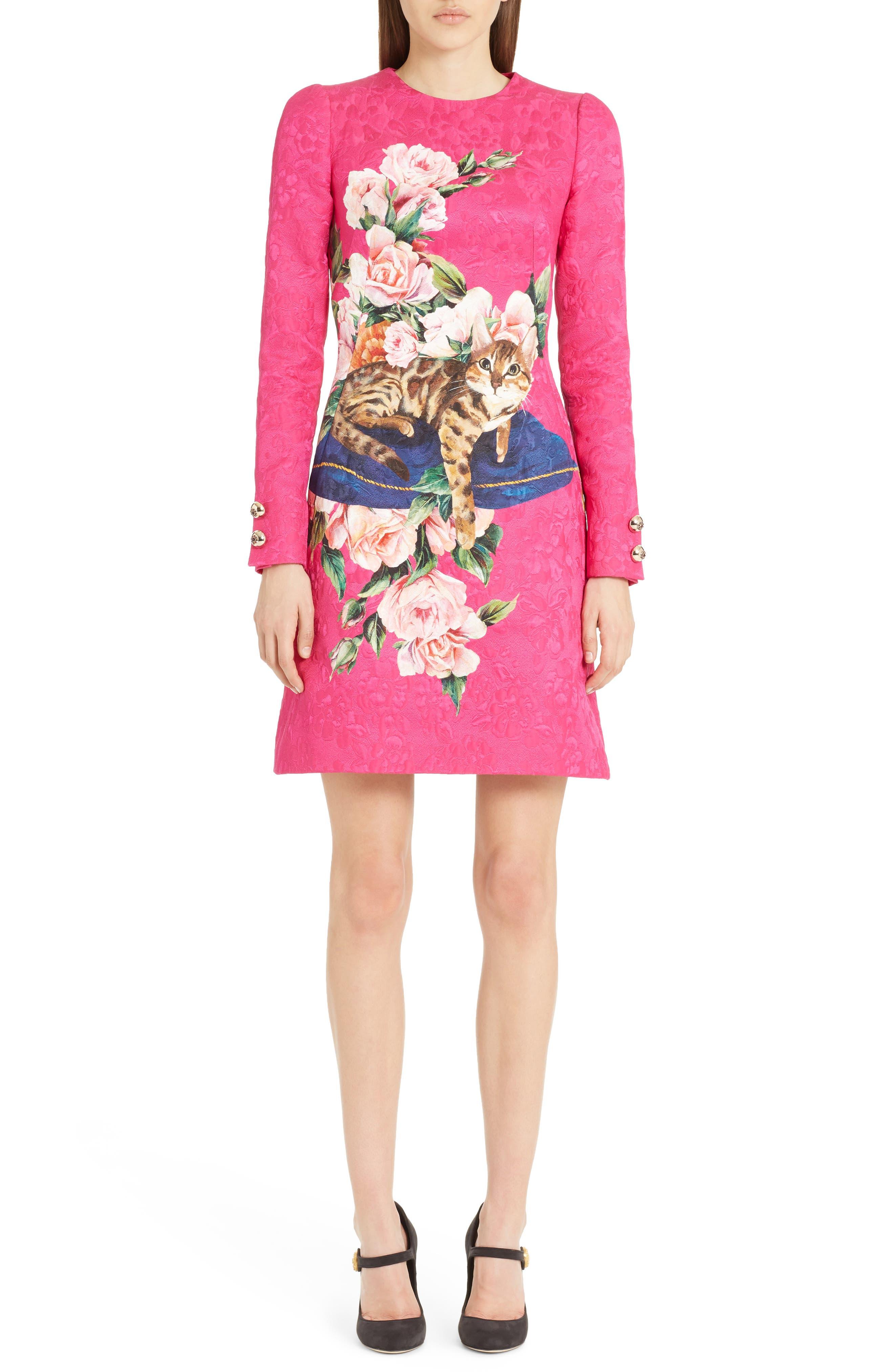 Cotton & Silk Brocade Dress,                         Main,                         color, Fuchsia