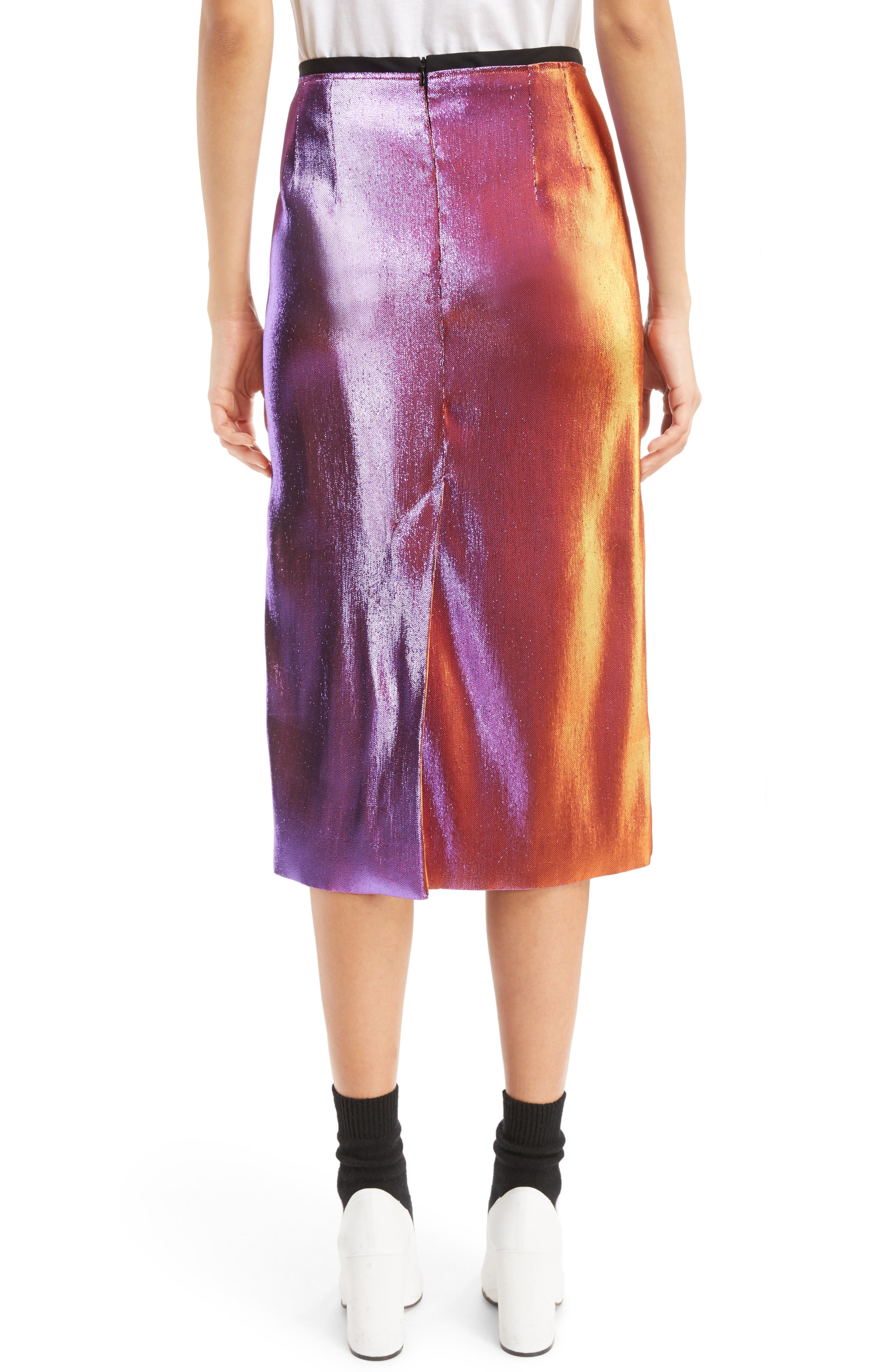 Two-Tone Lamé Pencil Skirt,                             Alternate thumbnail 2, color,                             Pink