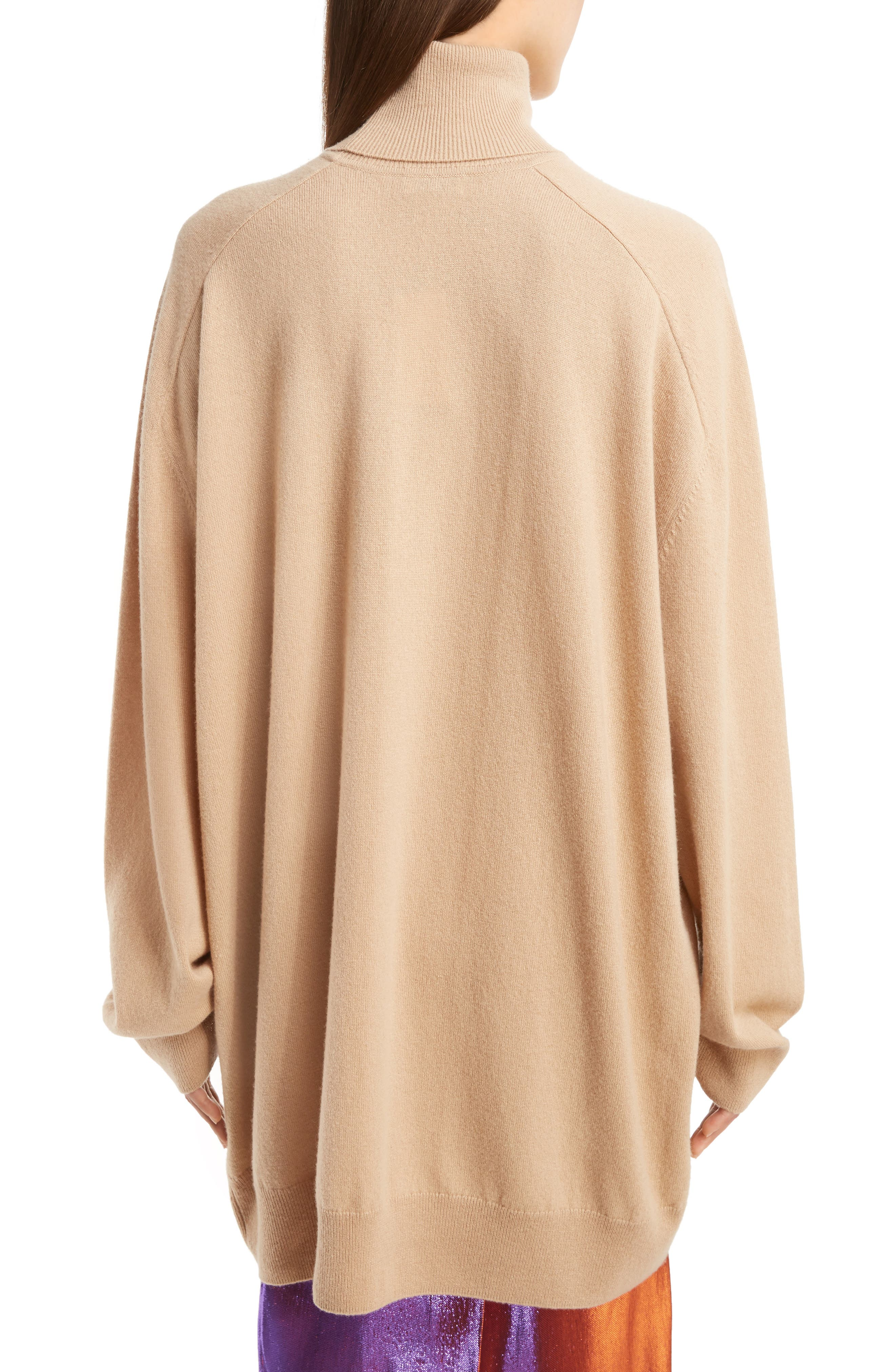 Oversized Cashmere Turtleneck Sweater,                             Alternate thumbnail 2, color,                             Camel