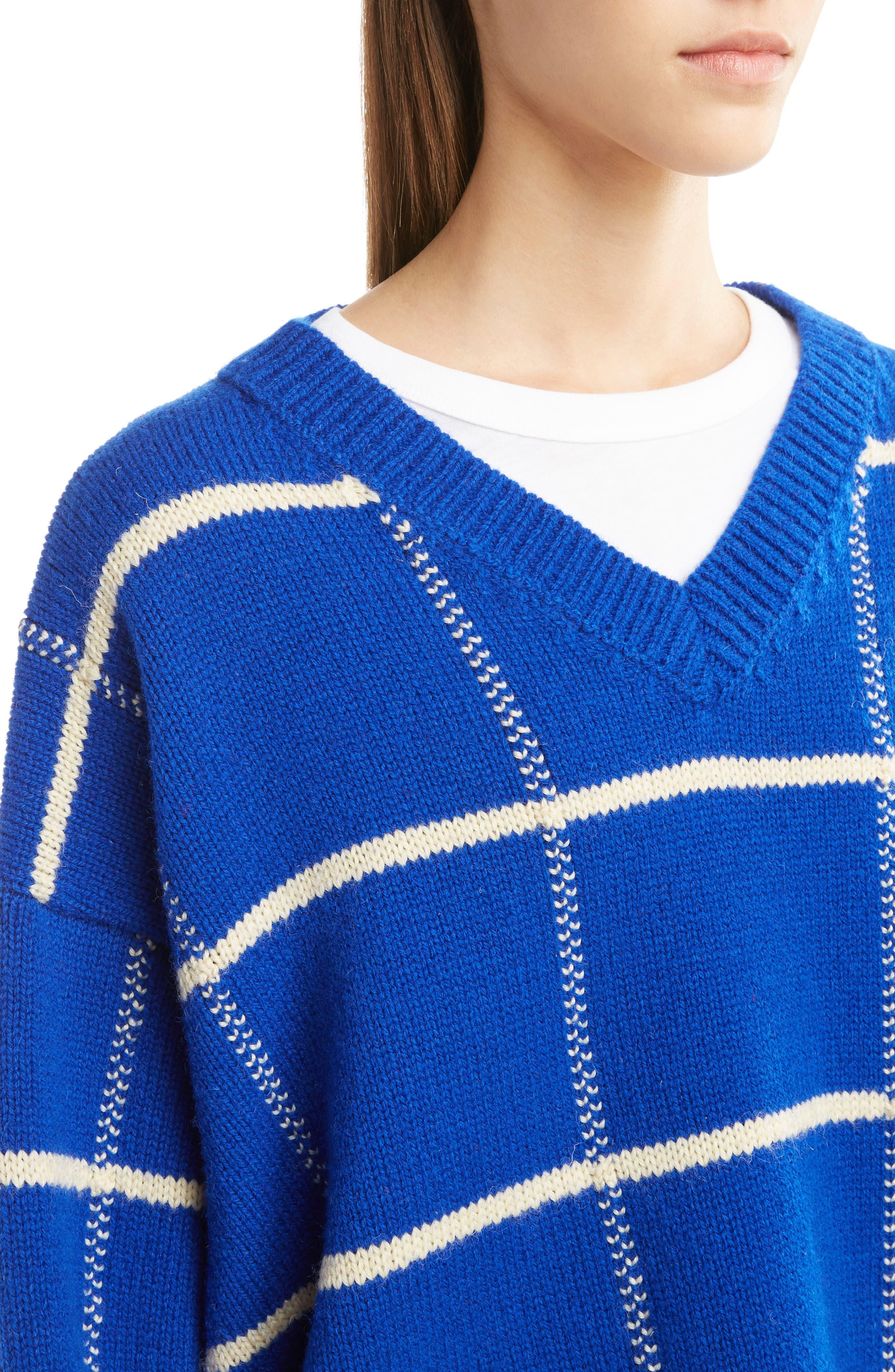 Windowpane Knit Wool Sweater,                             Alternate thumbnail 5, color,                             King Blue