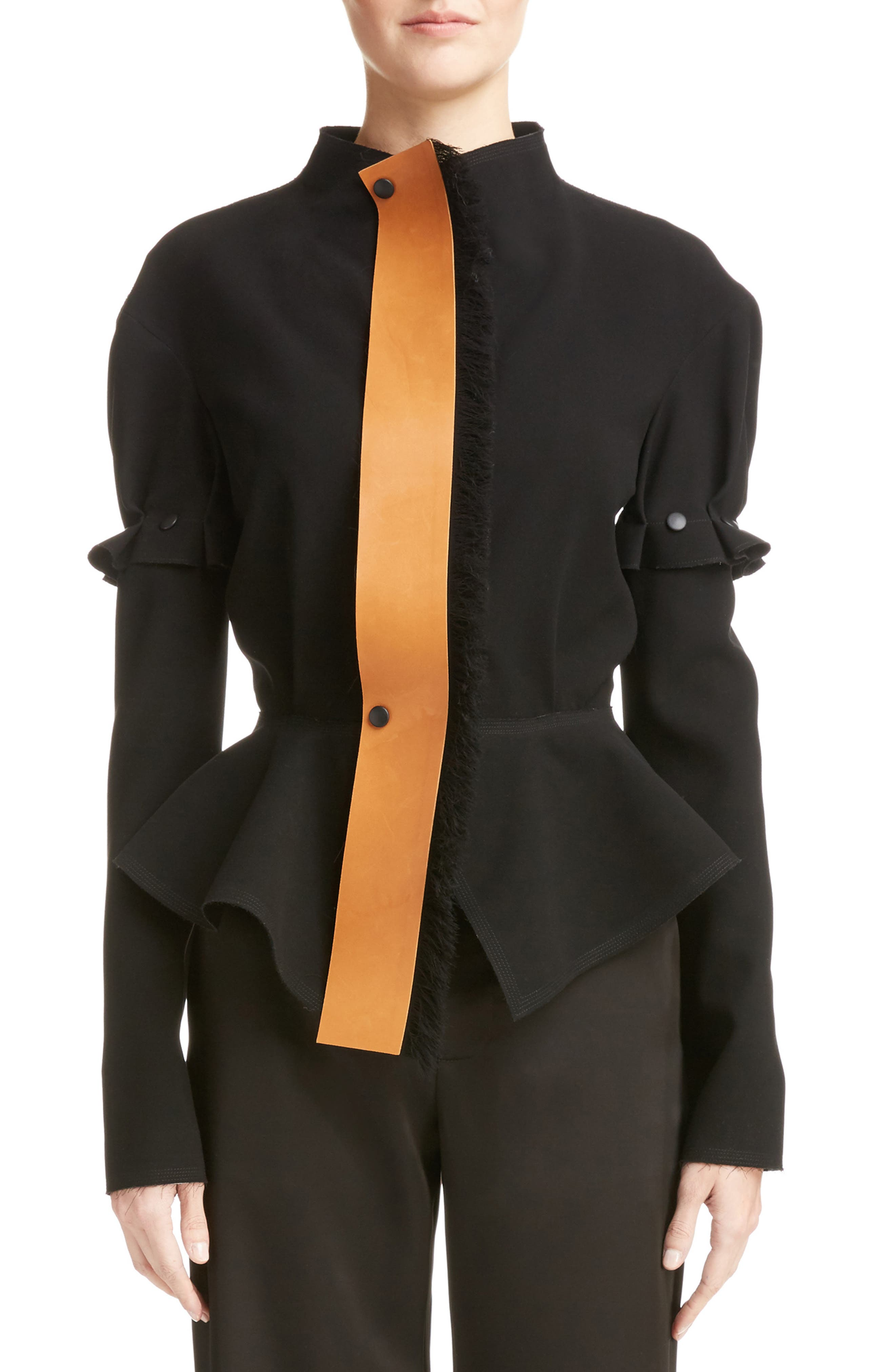 Loewe Crepe Jacket with Detachable Leather Placket & Sleeves