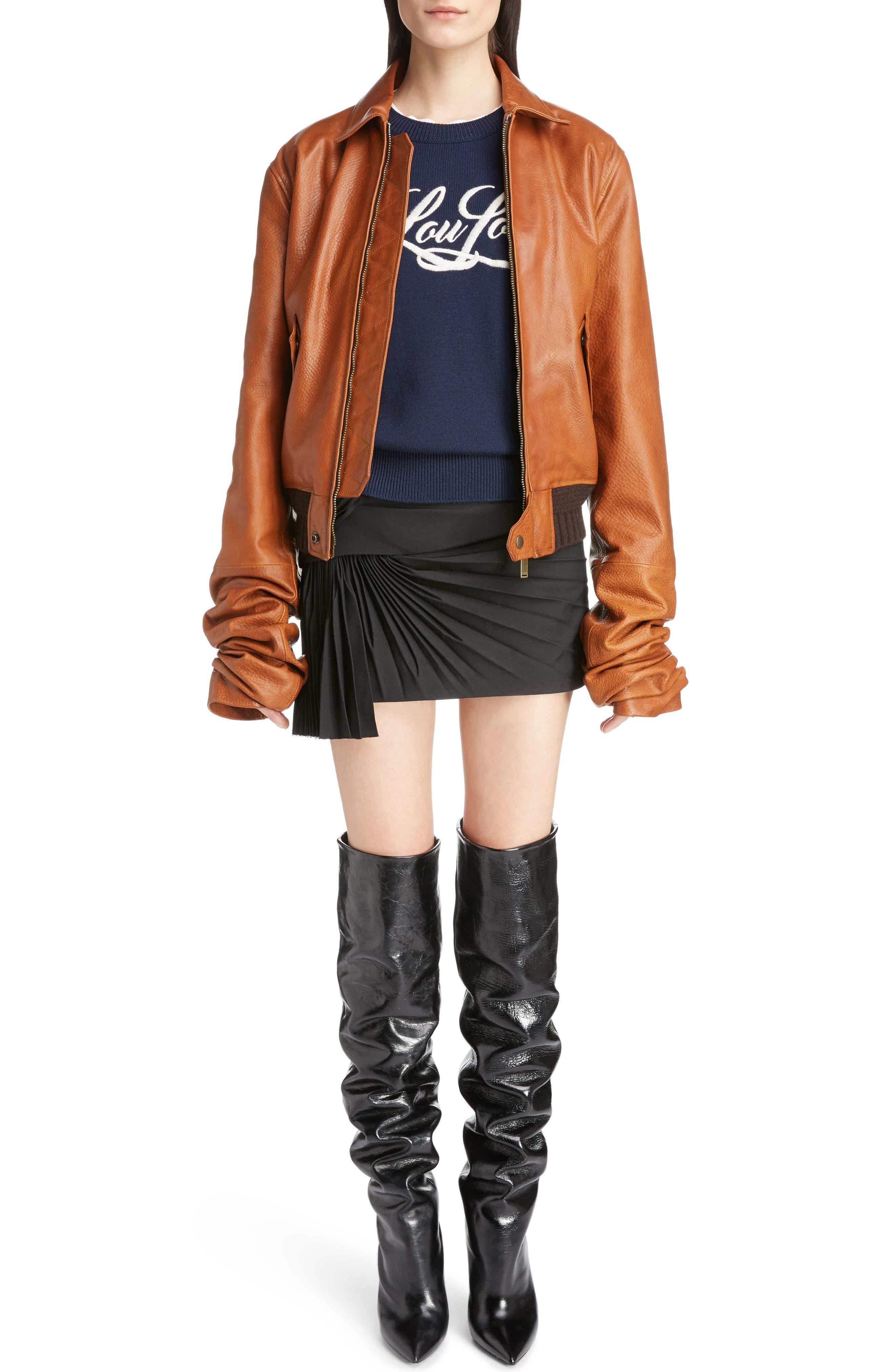Saint Laurent Oversize Sleeve Leather Bomber