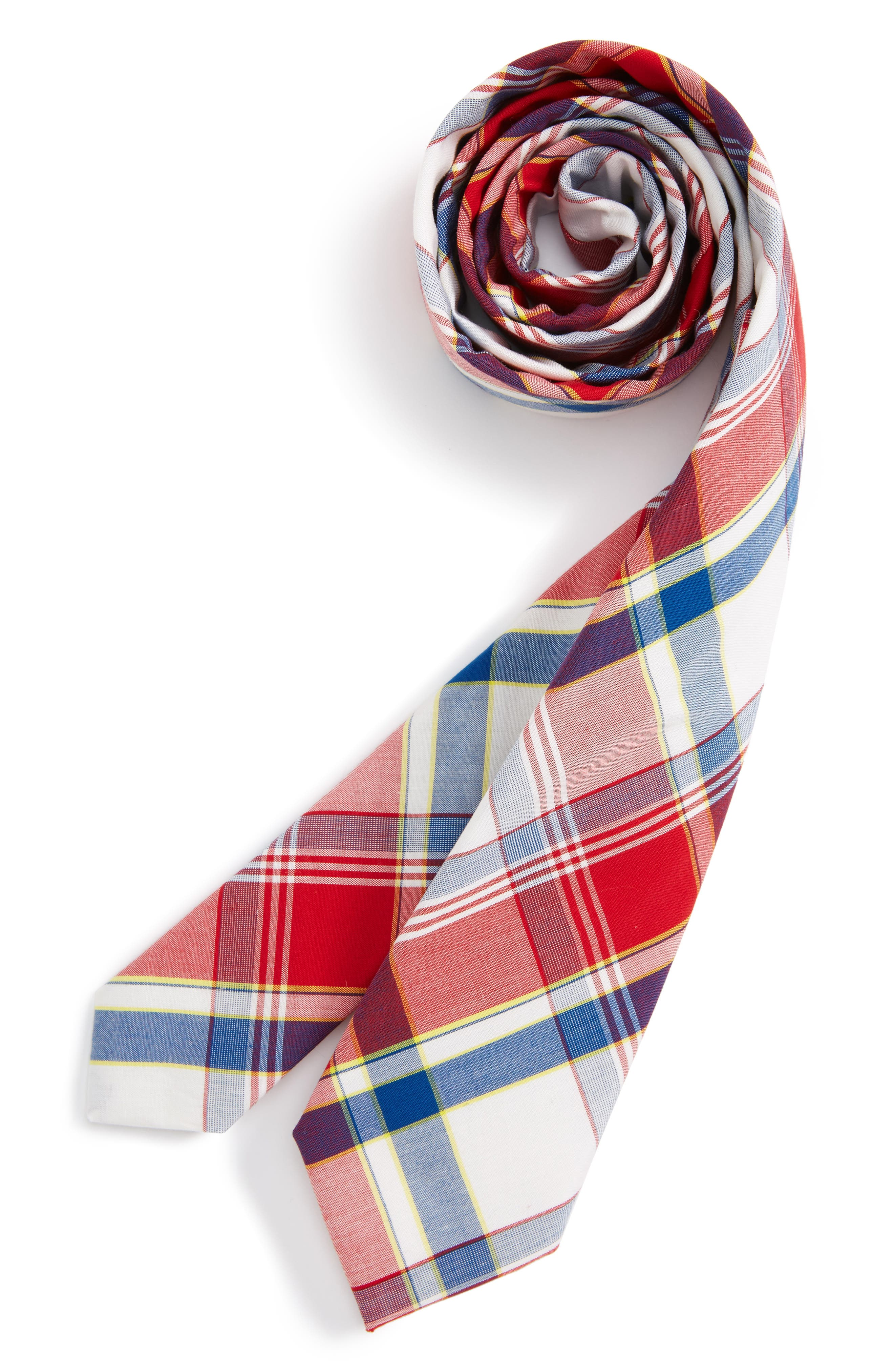 Nordstrom Plaid Cotton Tie (Big Boys)