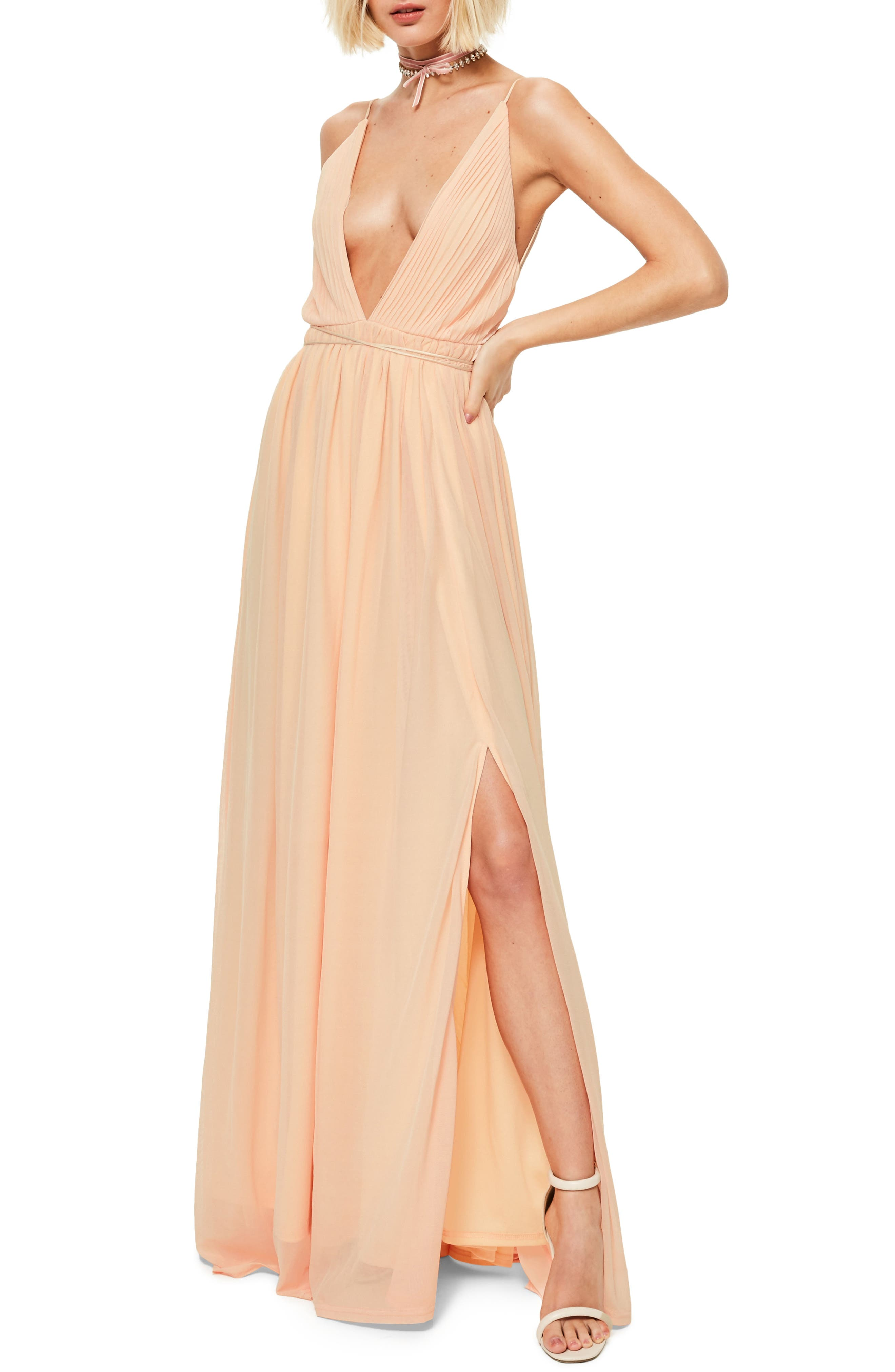 Plunging Neck Maxi Dress,                         Main,                         color, Nude