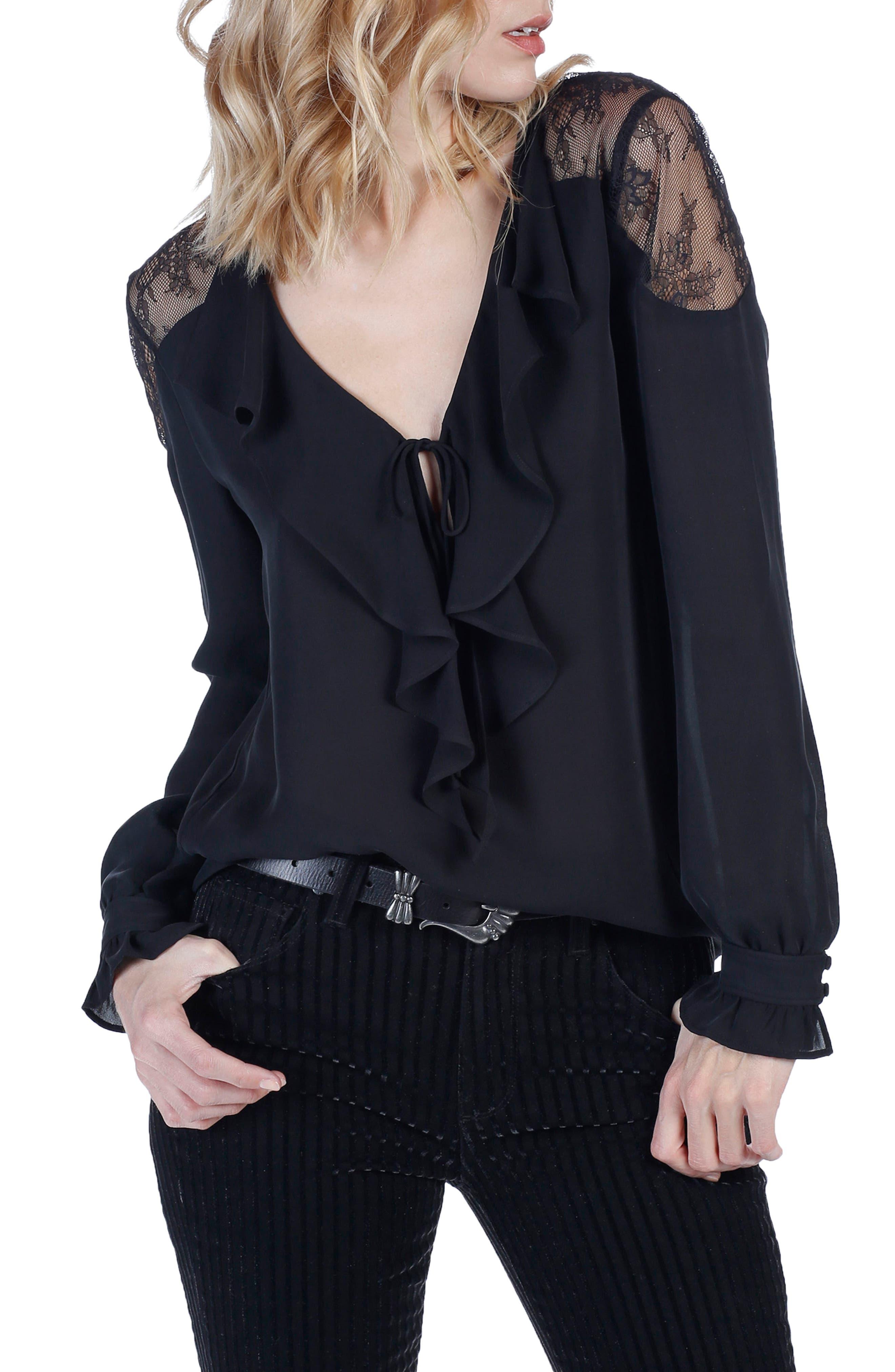 PAIGE Celesse Lace Silk Blouse