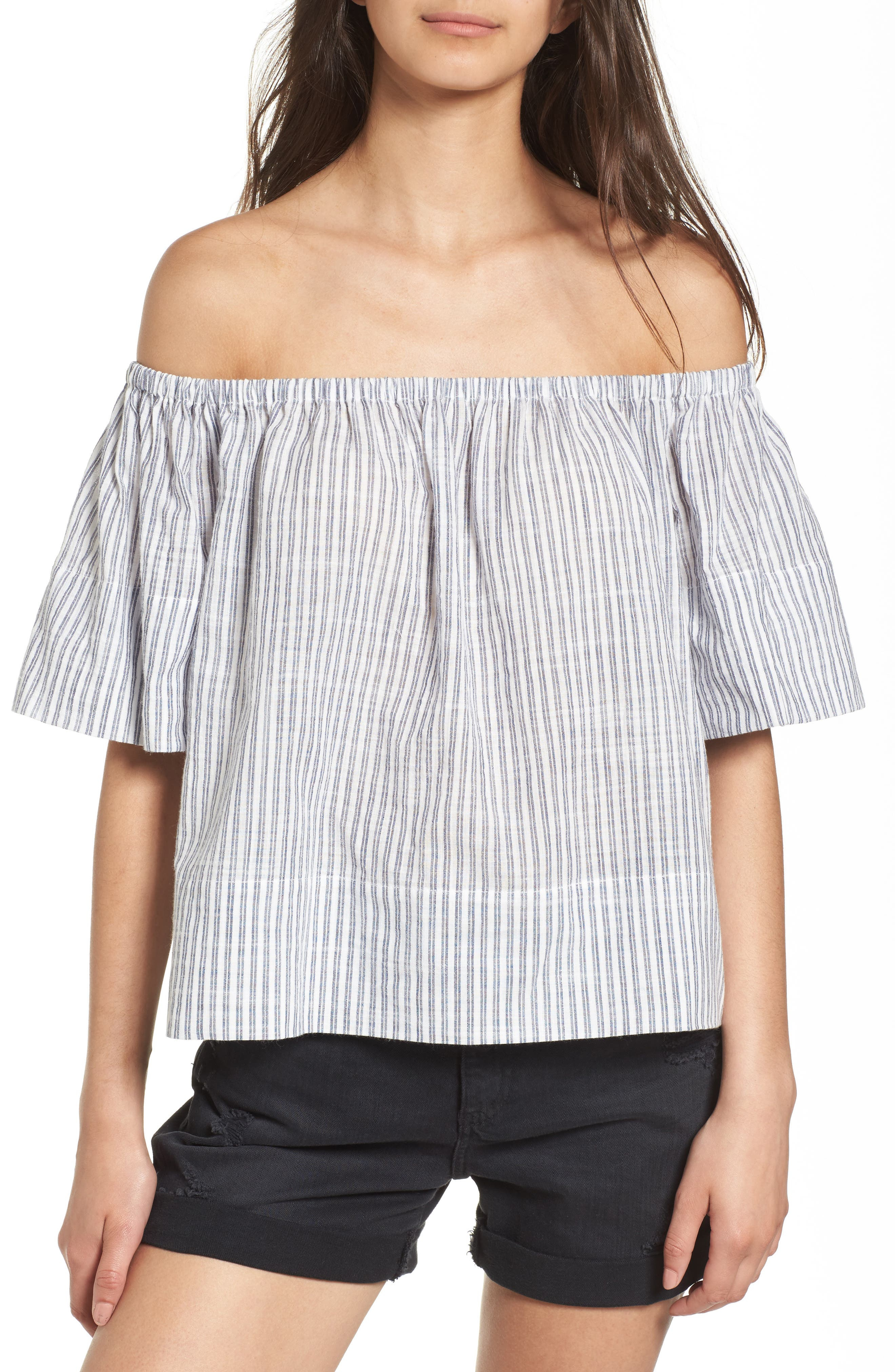 AG Sylvia Off the Shoulder Stripe Linen Twill Top