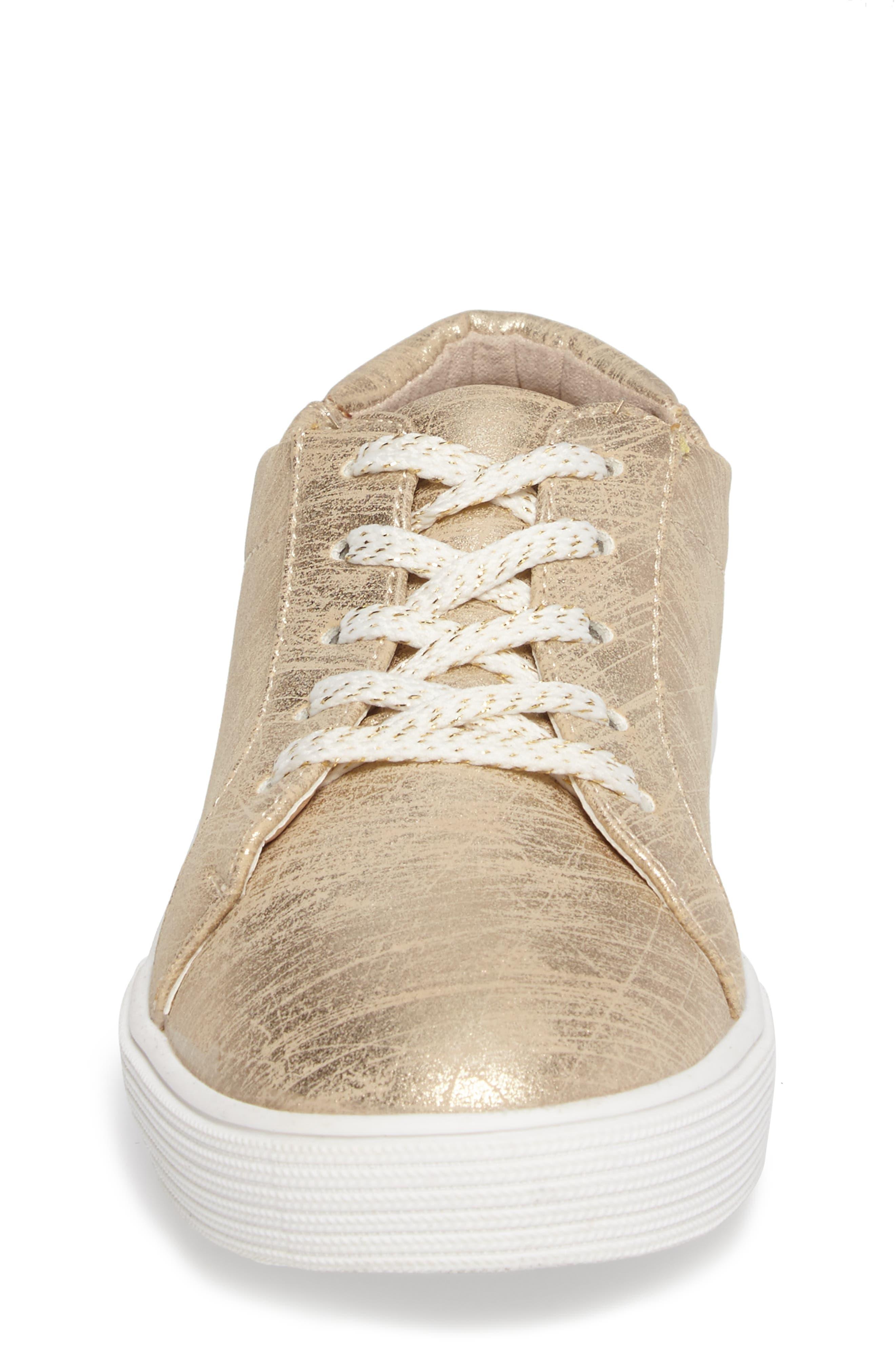 Kam Elastic Sneaker,                             Alternate thumbnail 4, color,                             Gold Brushed