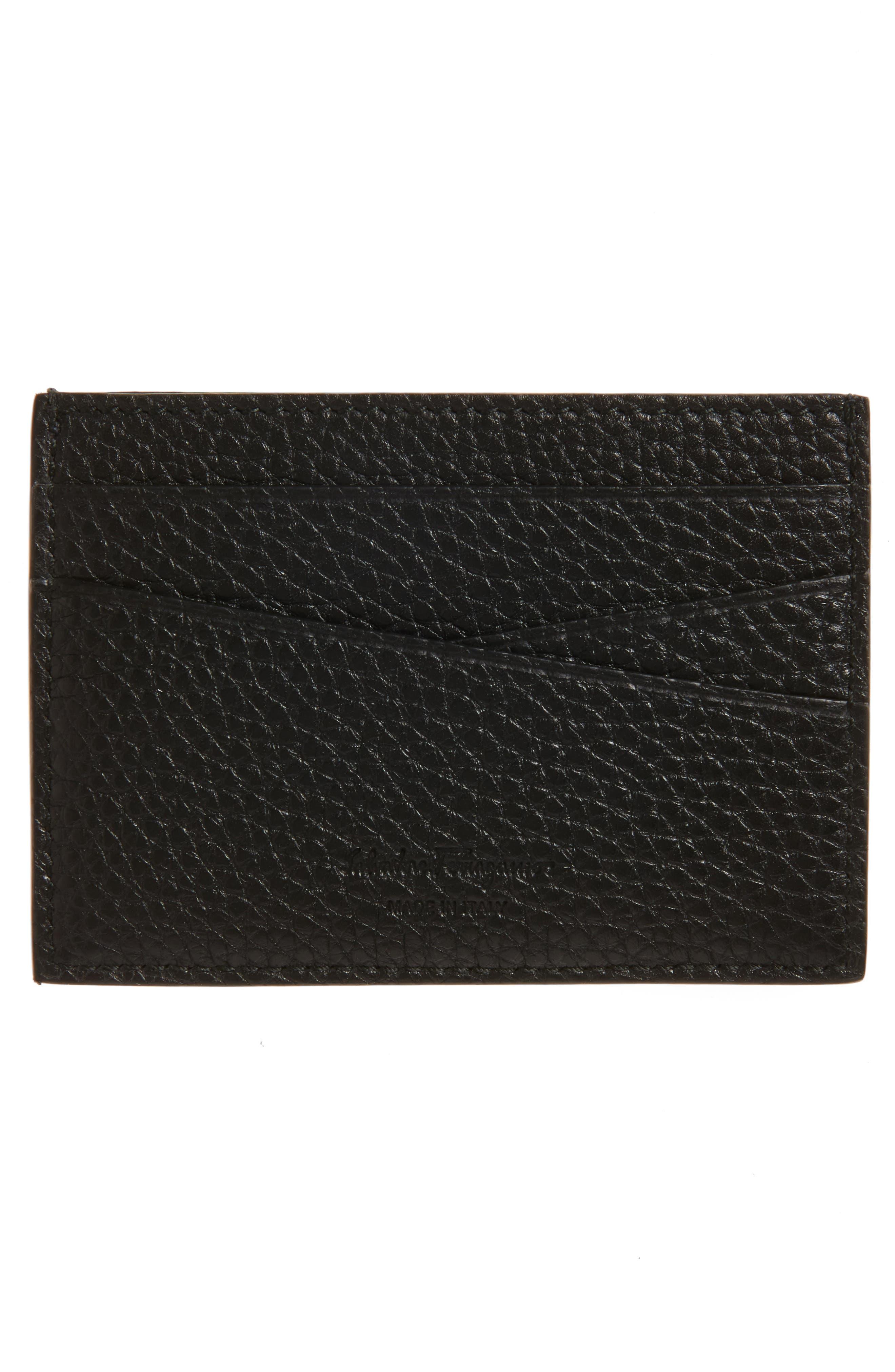 Leather Card Case,                             Alternate thumbnail 2, color,                             Lavagna Blue/ Grey
