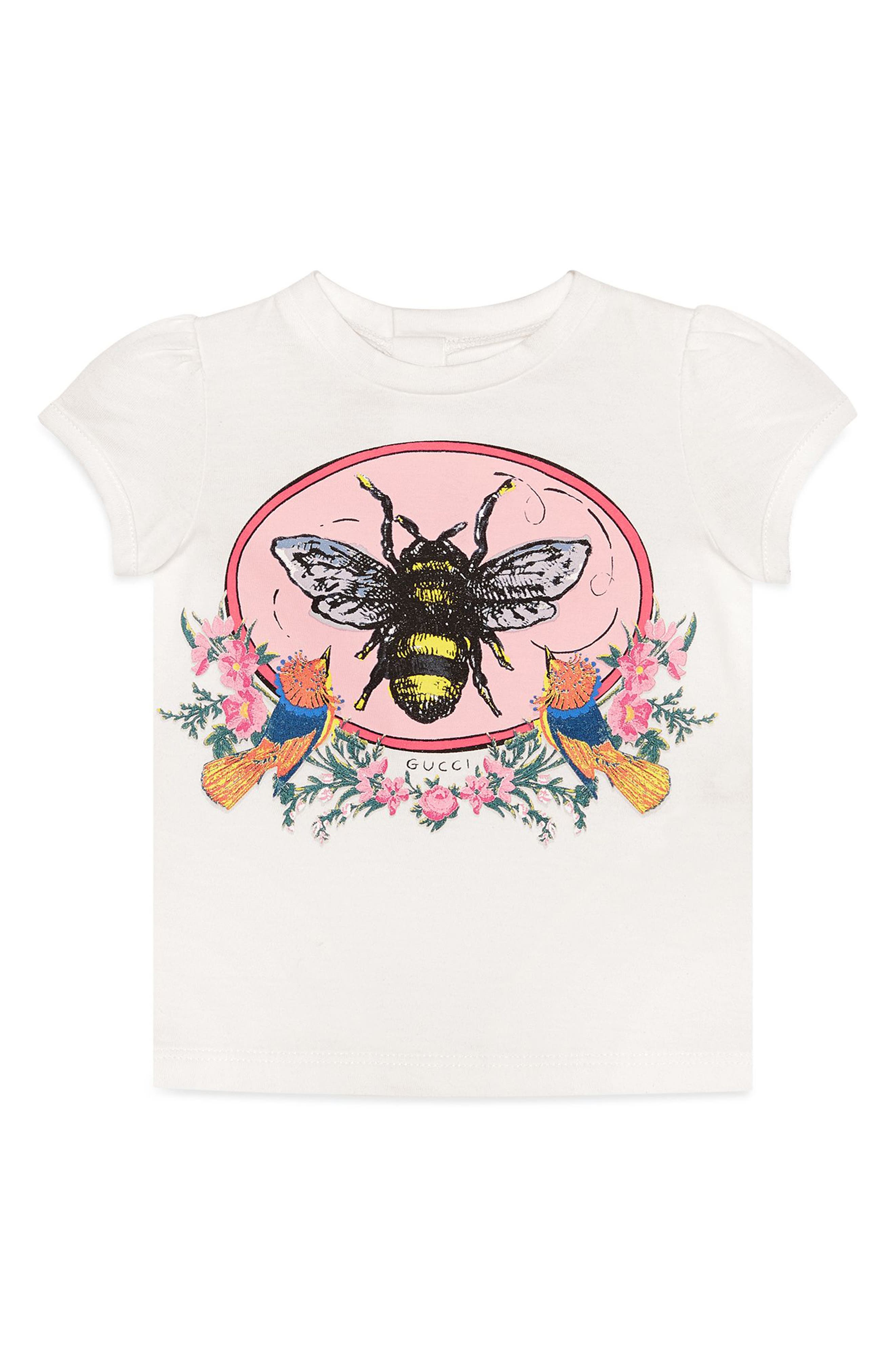 Alternate Image 1 Selected - Gucci Bee Graphic Tee (Baby Girls)