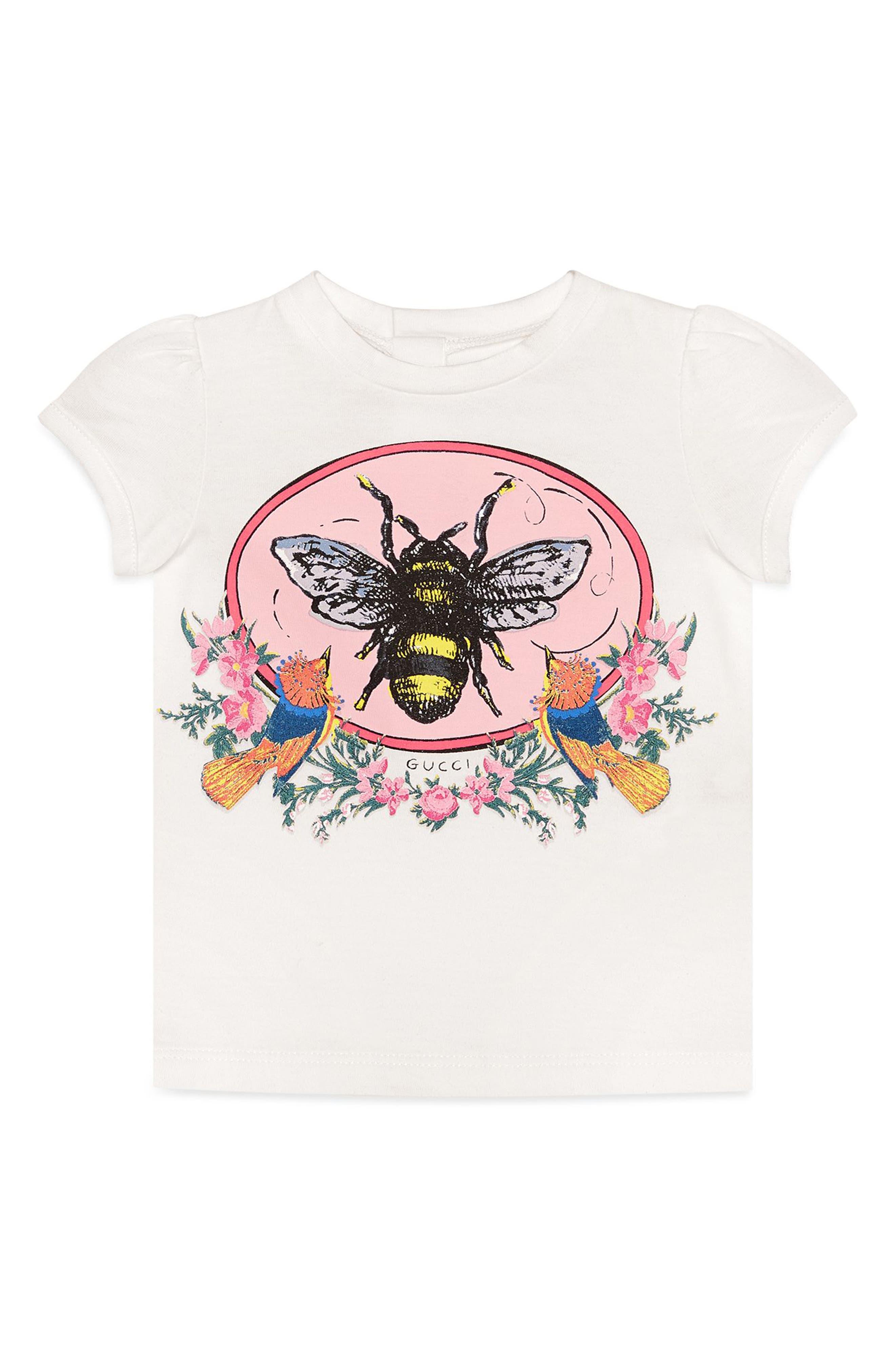 Main Image - Gucci Bee Graphic Tee (Baby Girls)