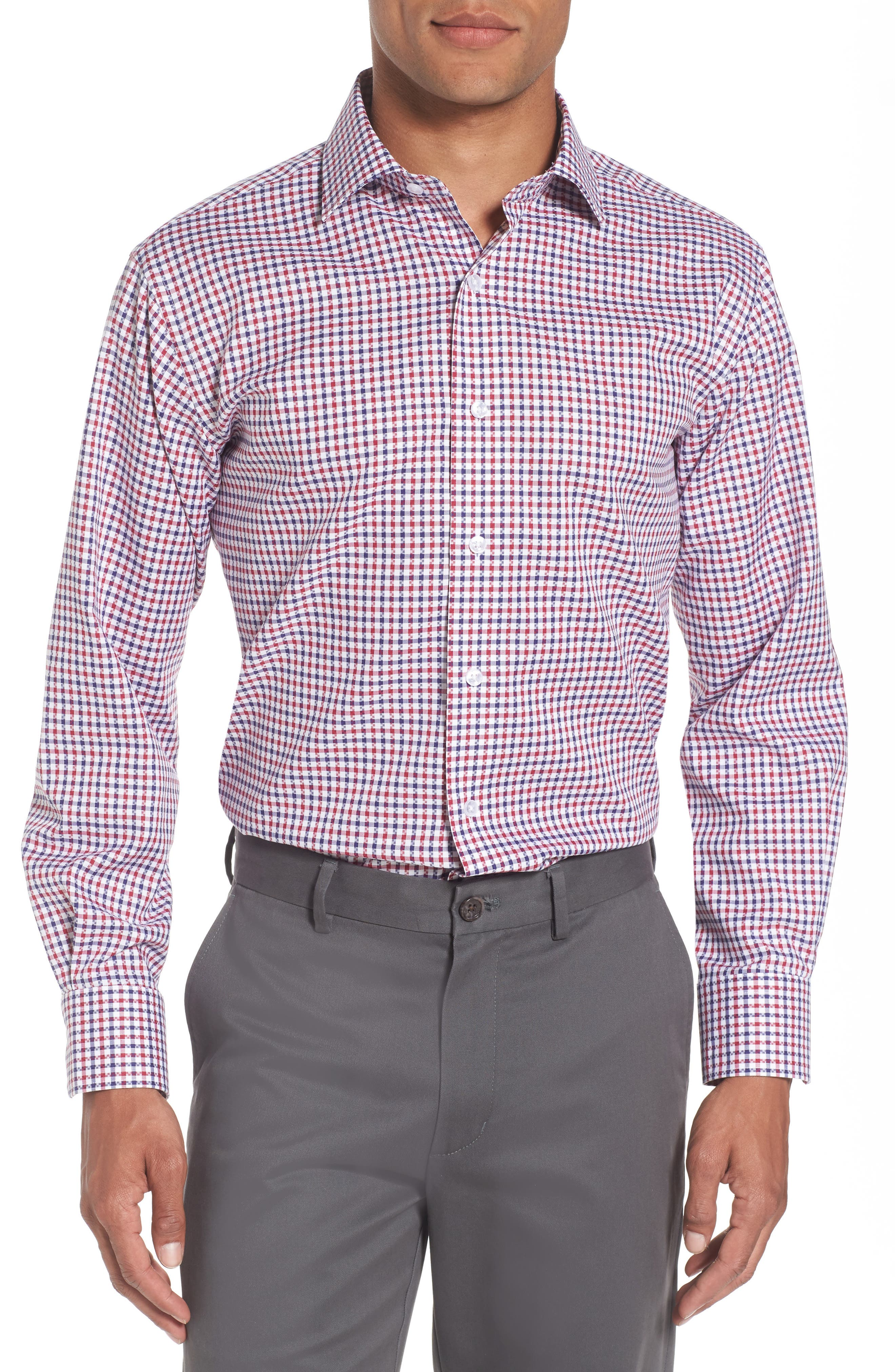 Trim Fit Check Dress Shirt,                         Main,                         color, Red/ Navy
