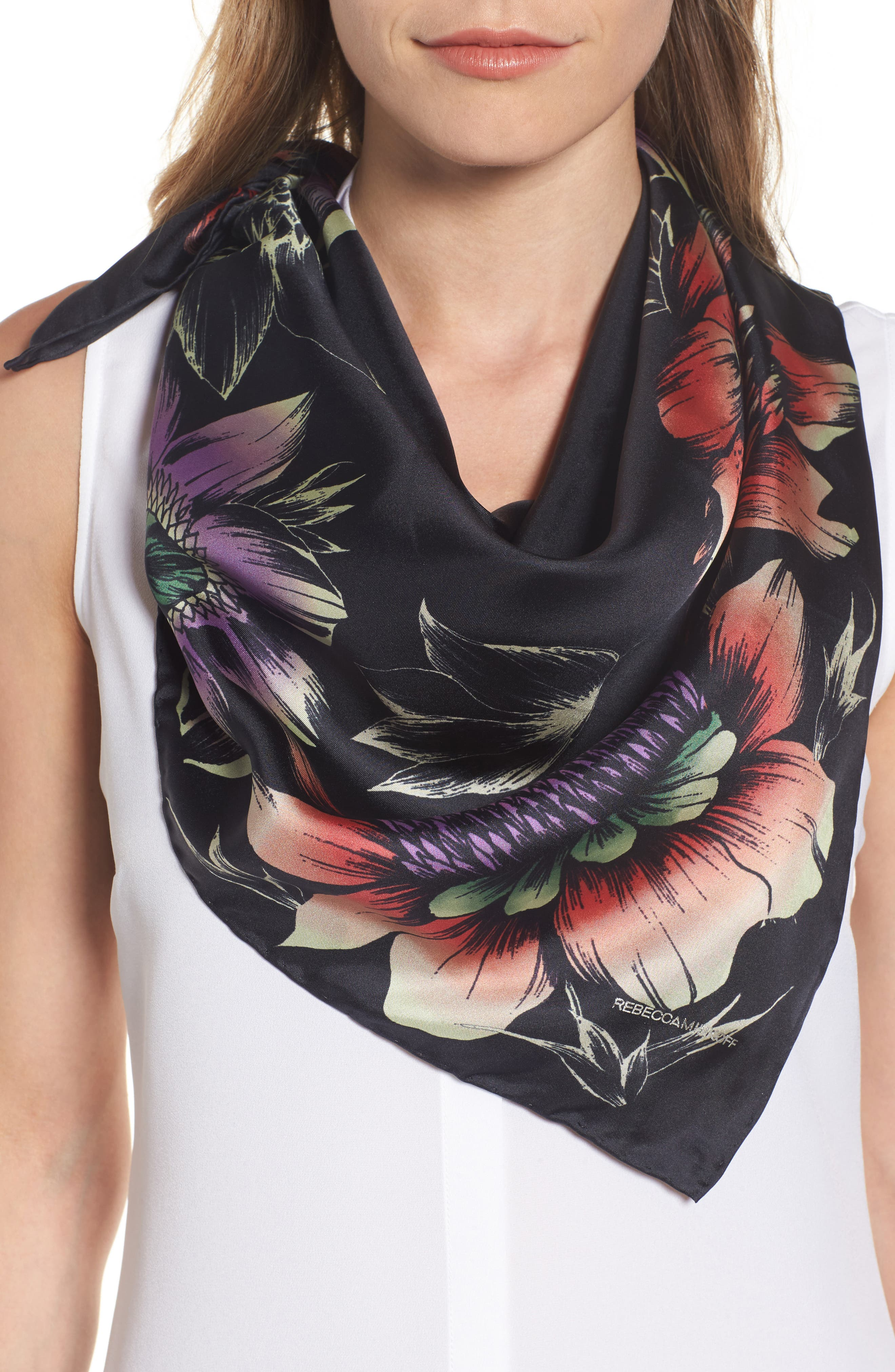 Floral Square Silk Scarf,                         Main,                         color, Deep Eggplant