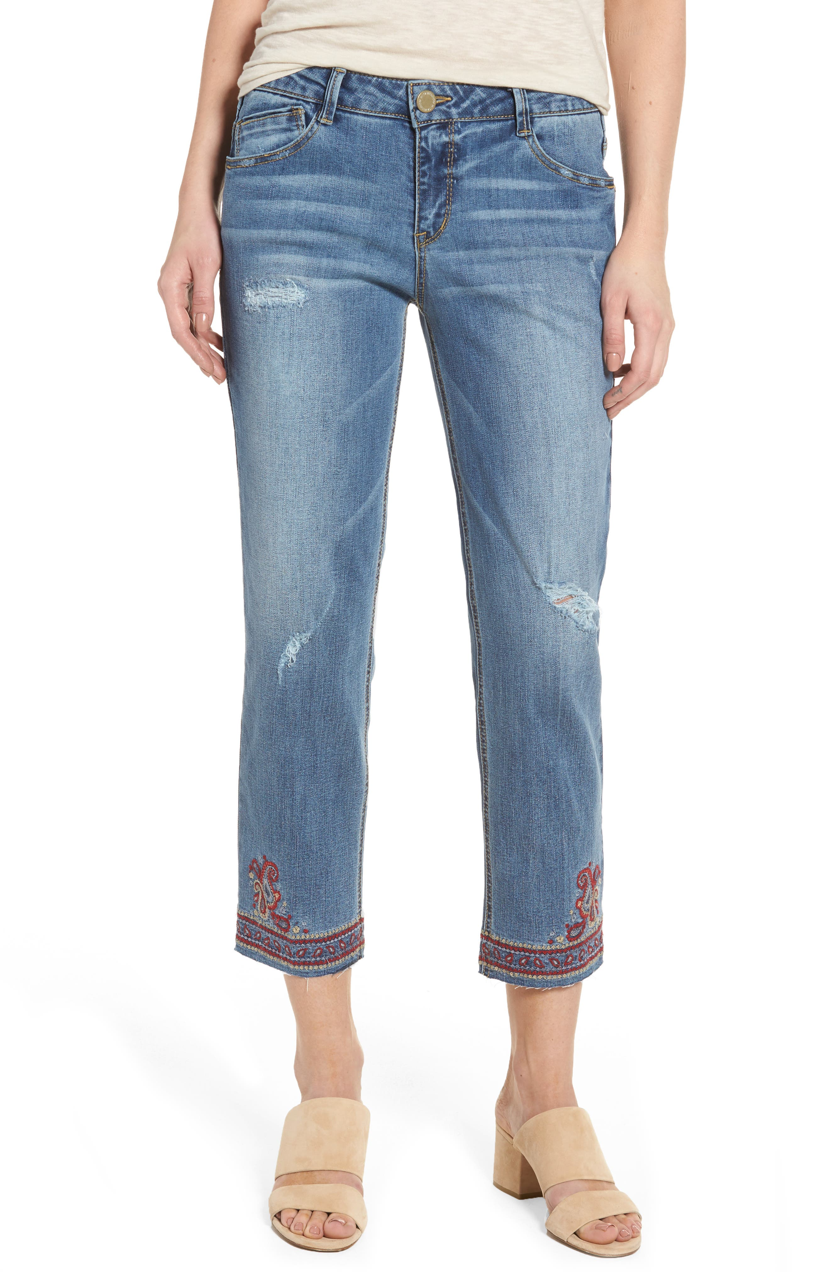 Main Image - Wit & Wisdom Embroidered Slim Crop Jeans (Nordstrom Exclusive)