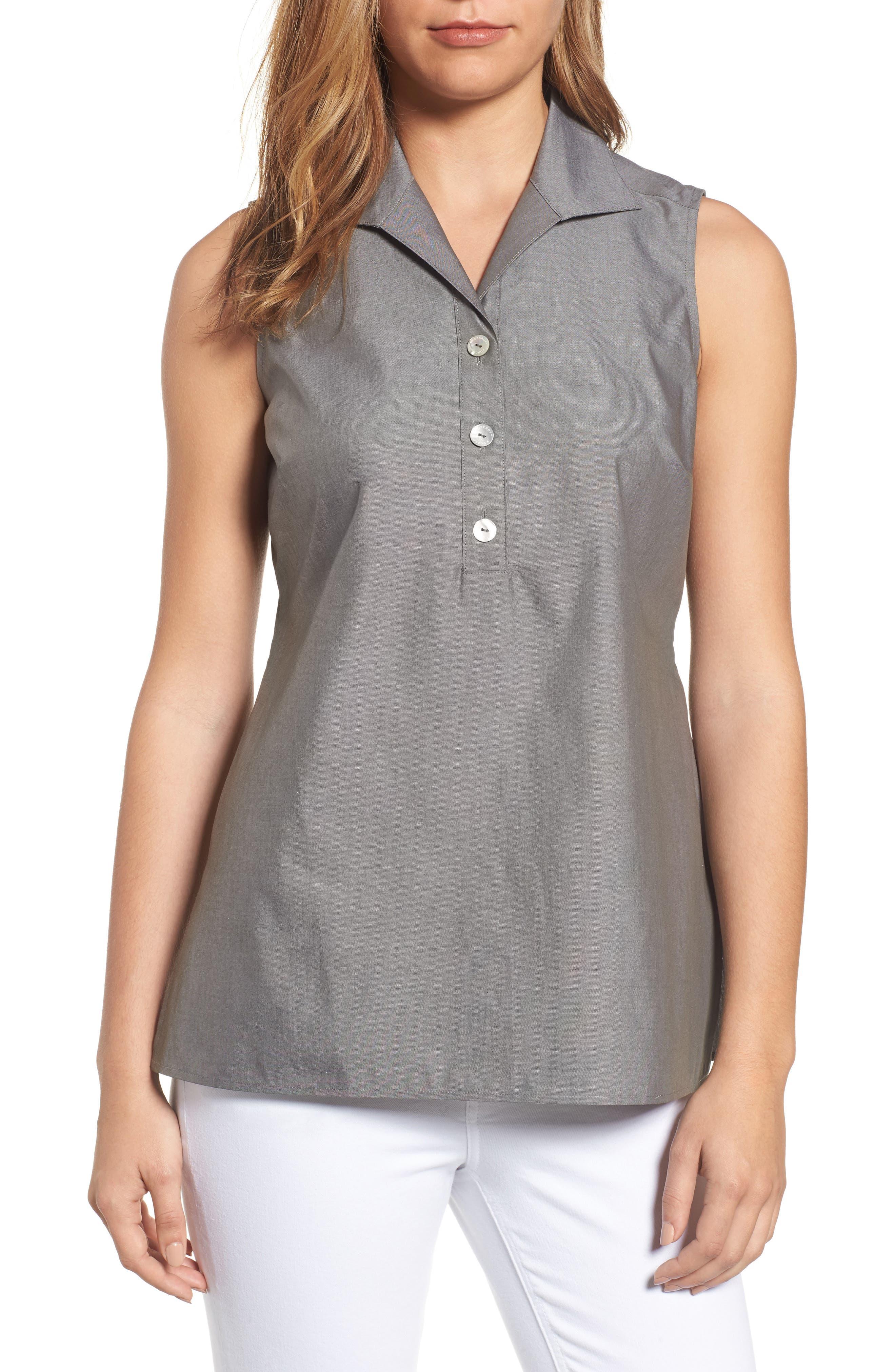 Main Image - Foxcroft Dani Button Back Shirt (Regular & Petite)