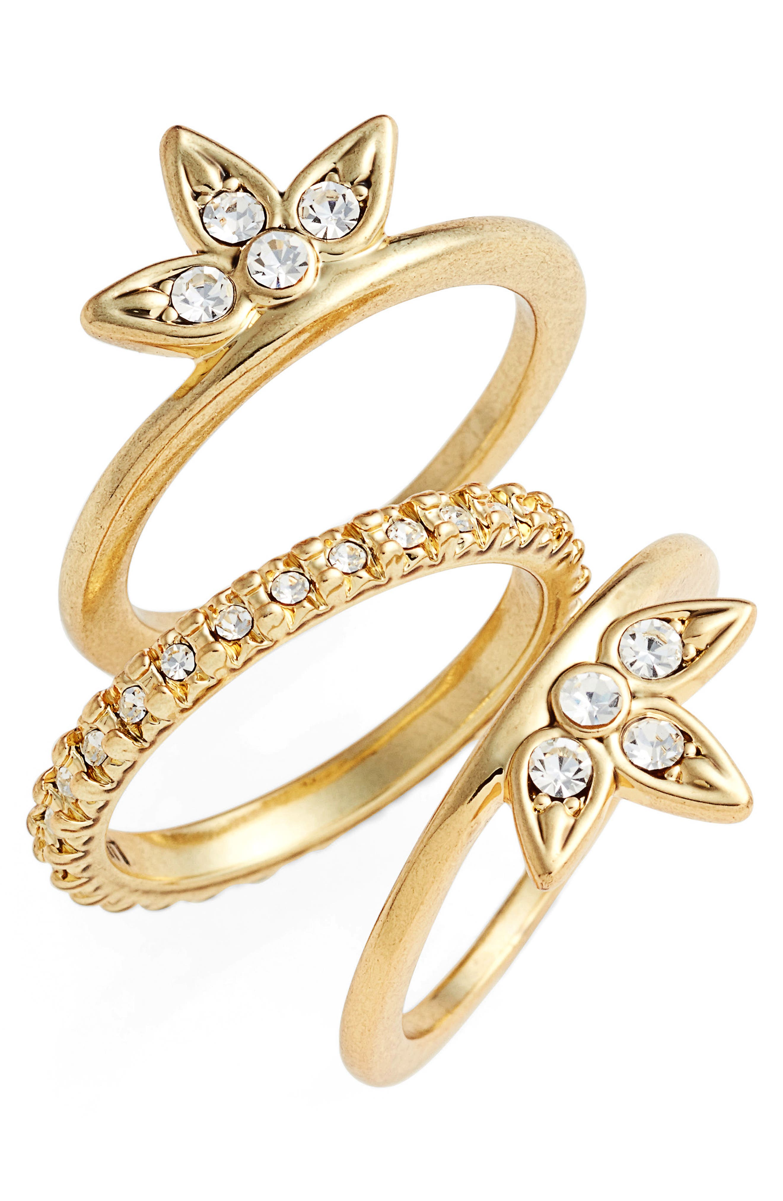 Posie Set of Three Pavé Rings,                             Main thumbnail 1, color,                             Gold