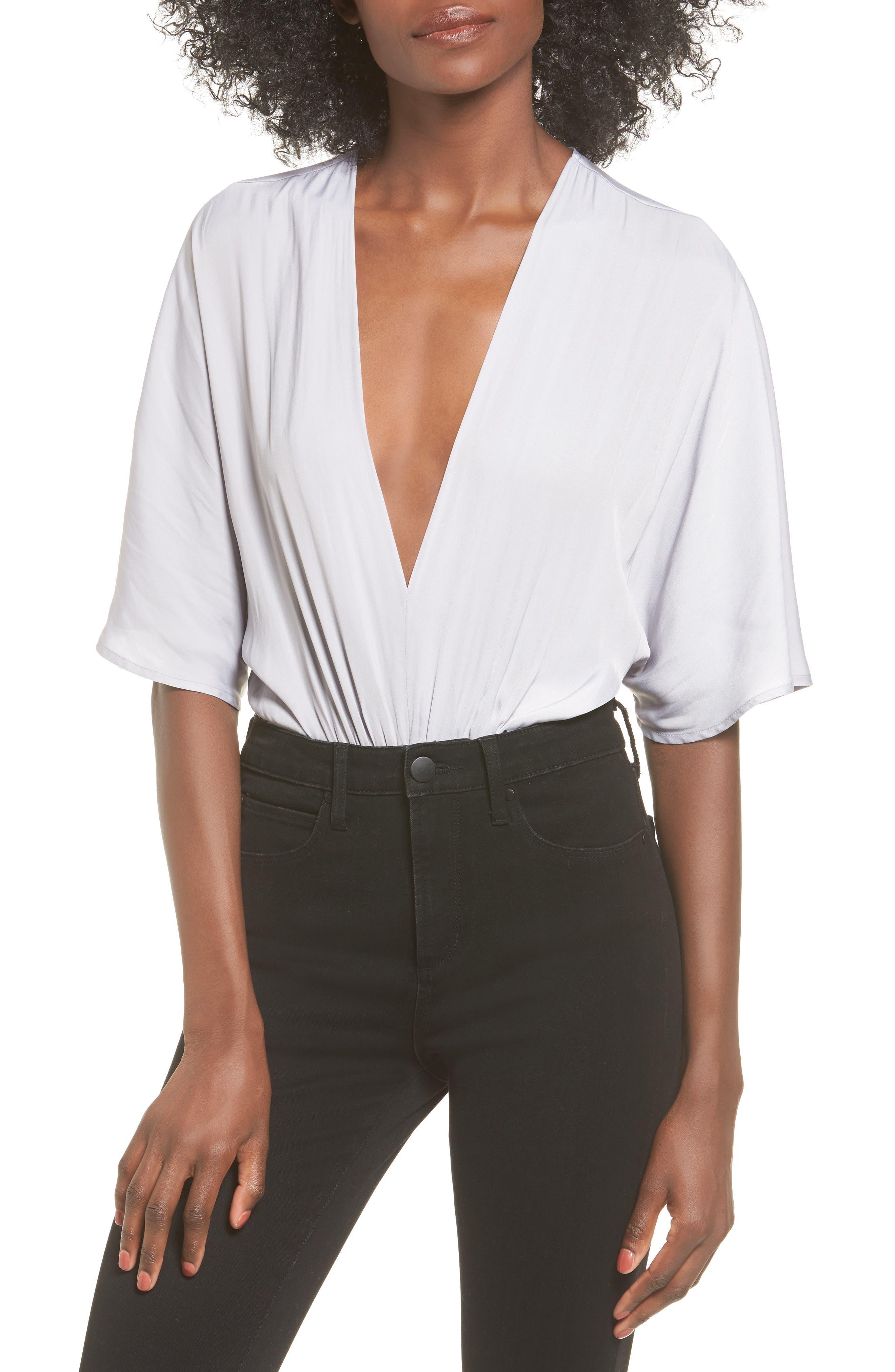 Deep V Bodysuit,                         Main,                         color, Grey Sconce
