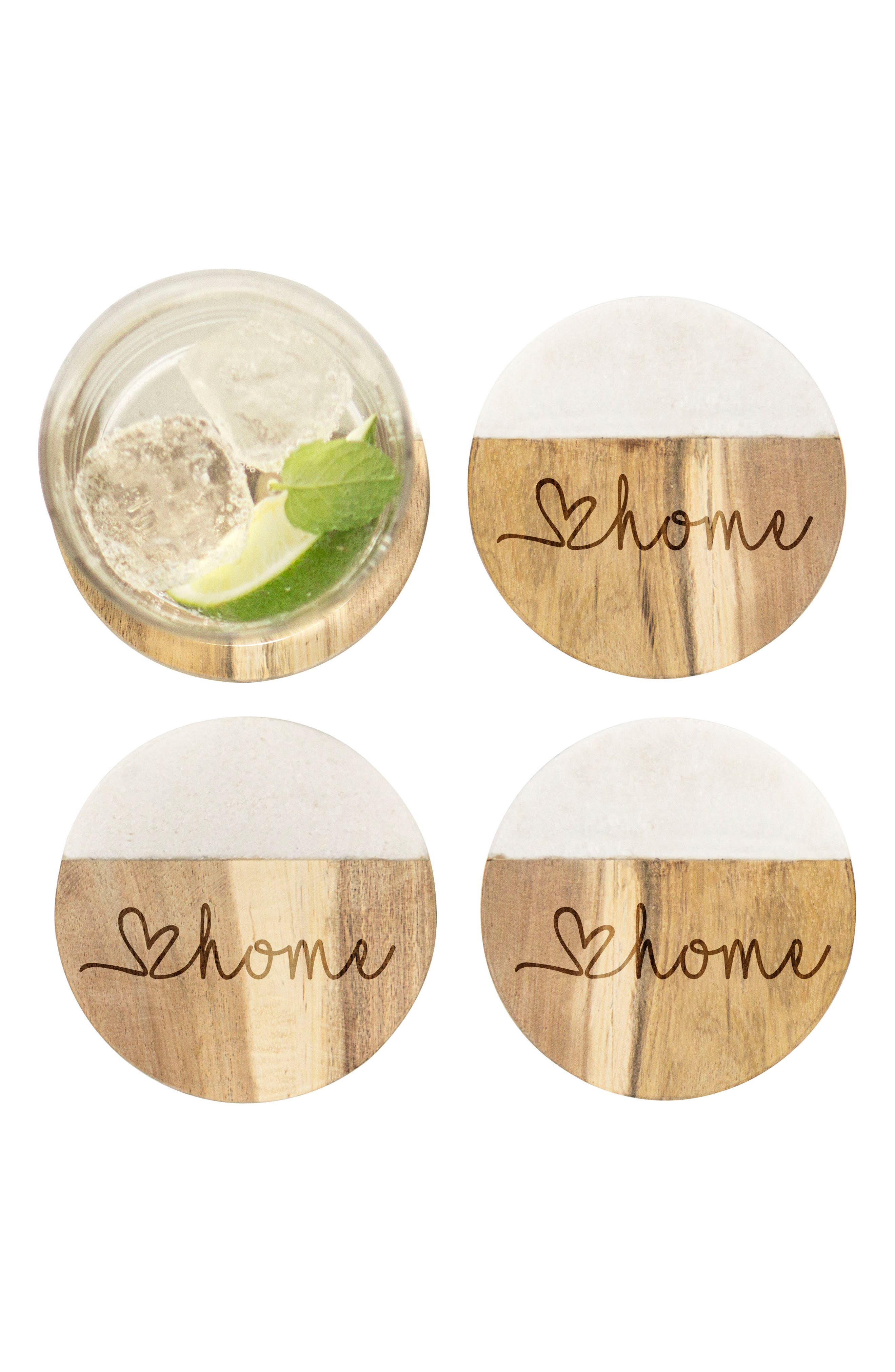 Love Home Set of 4 Marble & Acacia Wood Coasters,                             Alternate thumbnail 2, color,                             Brown