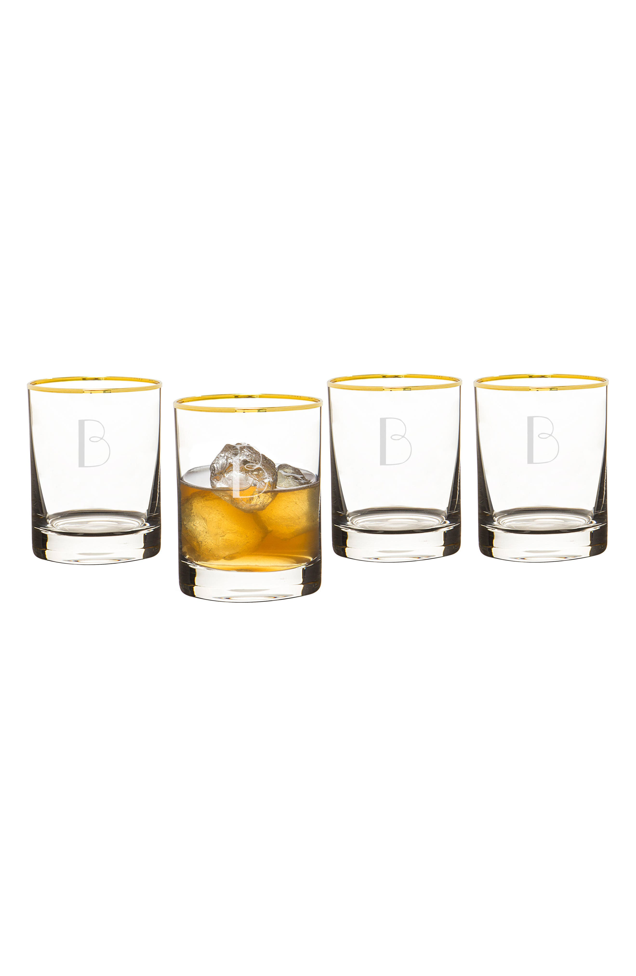 Monogram Set of 4 Double Old Fashioned Glasses,                         Main,                         color, White - B