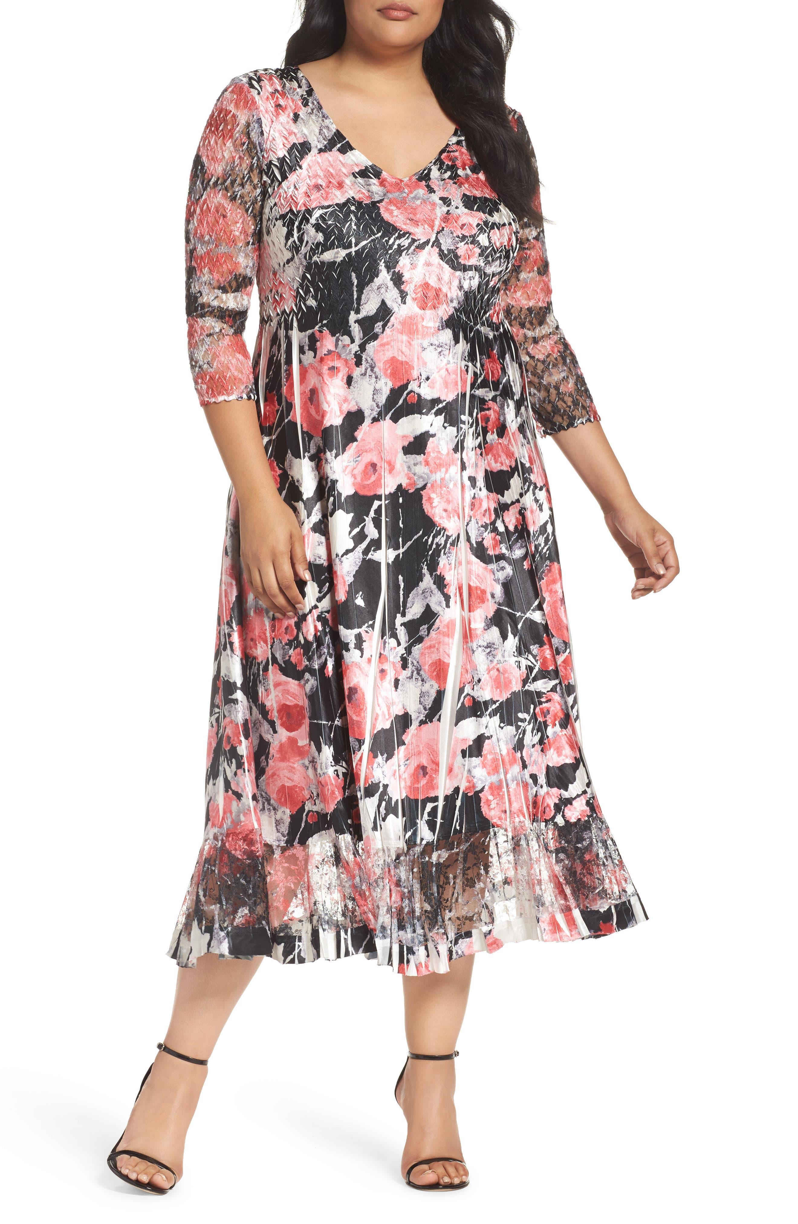 Alternate Image 1 Selected - Komarov Print A-Line Midi Dress (Plus Size)