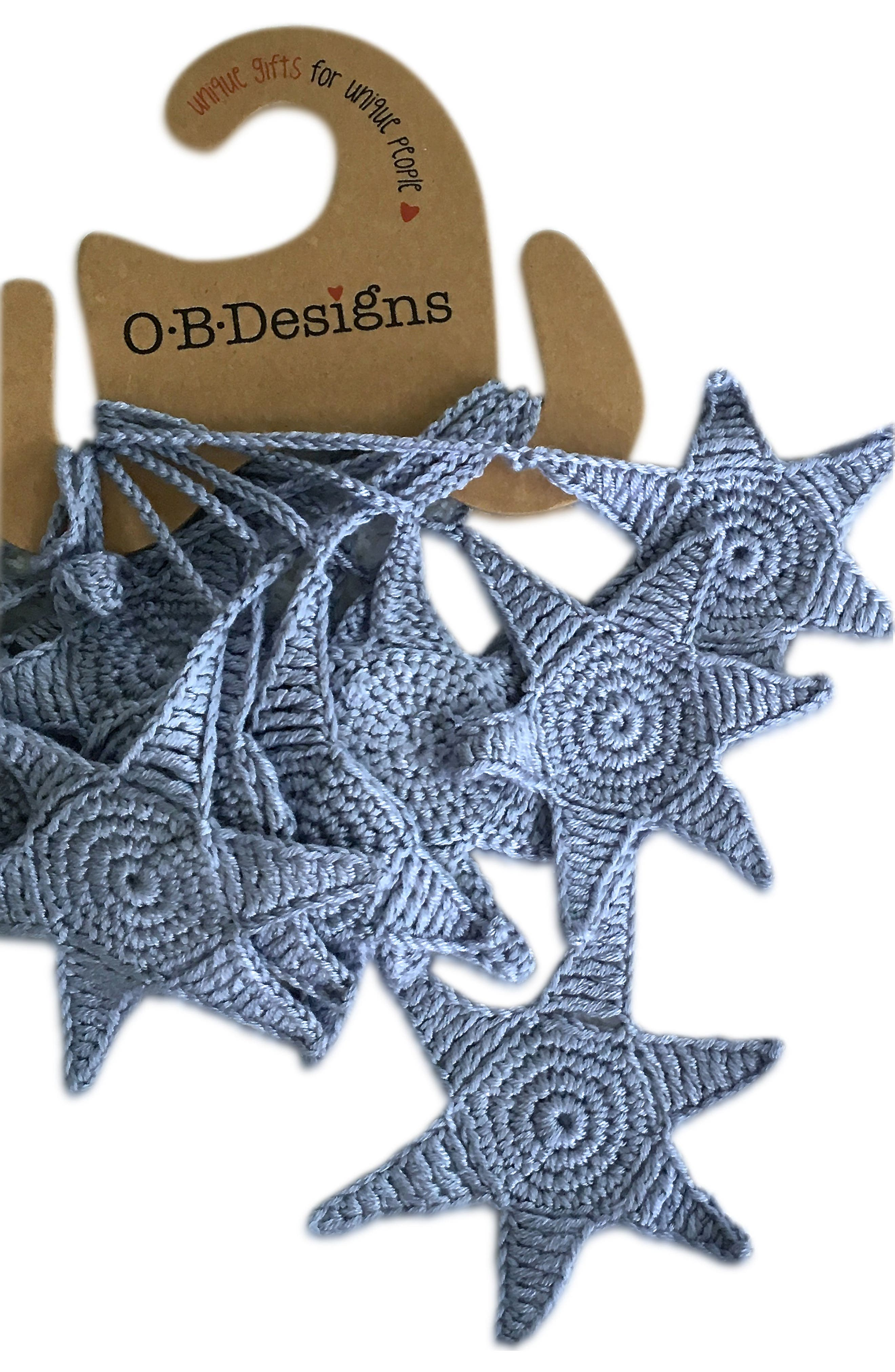 Crocheted Star Bunting,                         Main,                         color, Blue