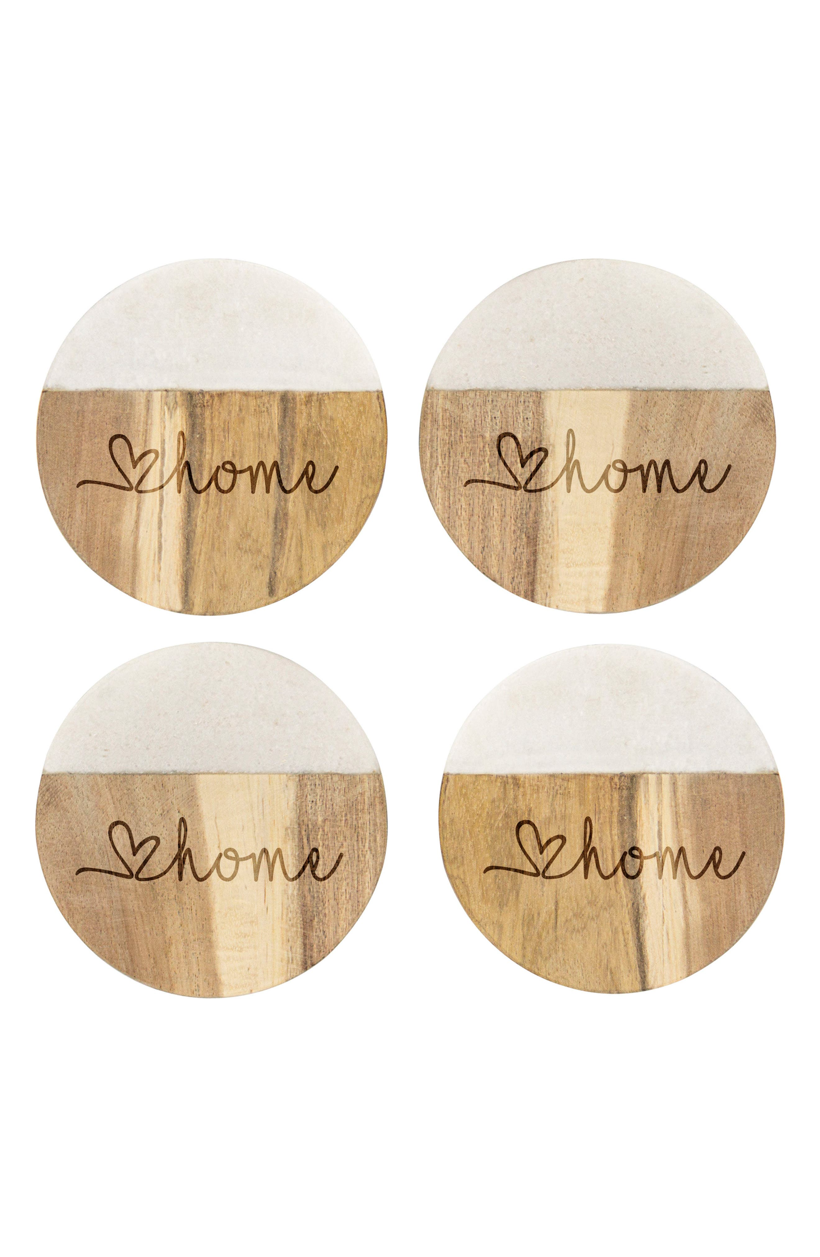 Love Home Set of 4 Marble & Acacia Wood Coasters,                         Main,                         color, Brown