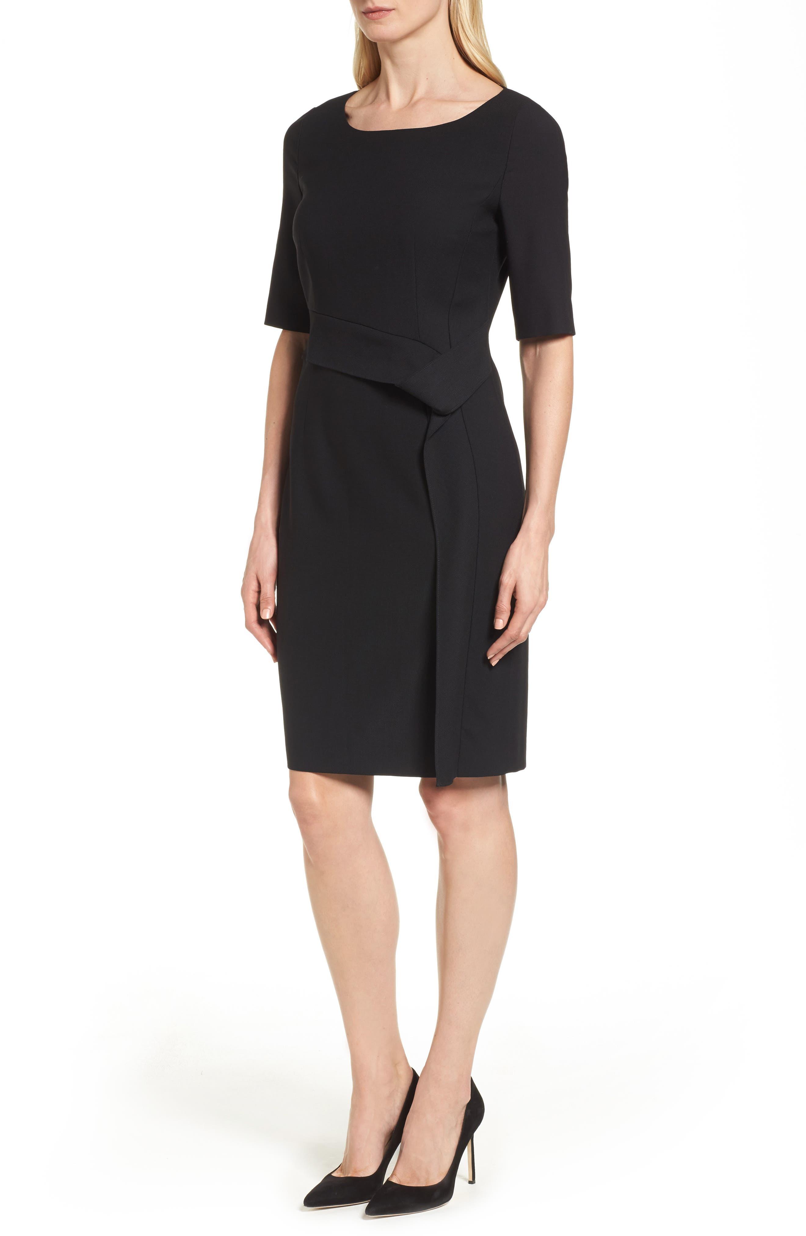 Delera Stretch Wool Sheath Dress,                             Alternate thumbnail 3, color,                             Black