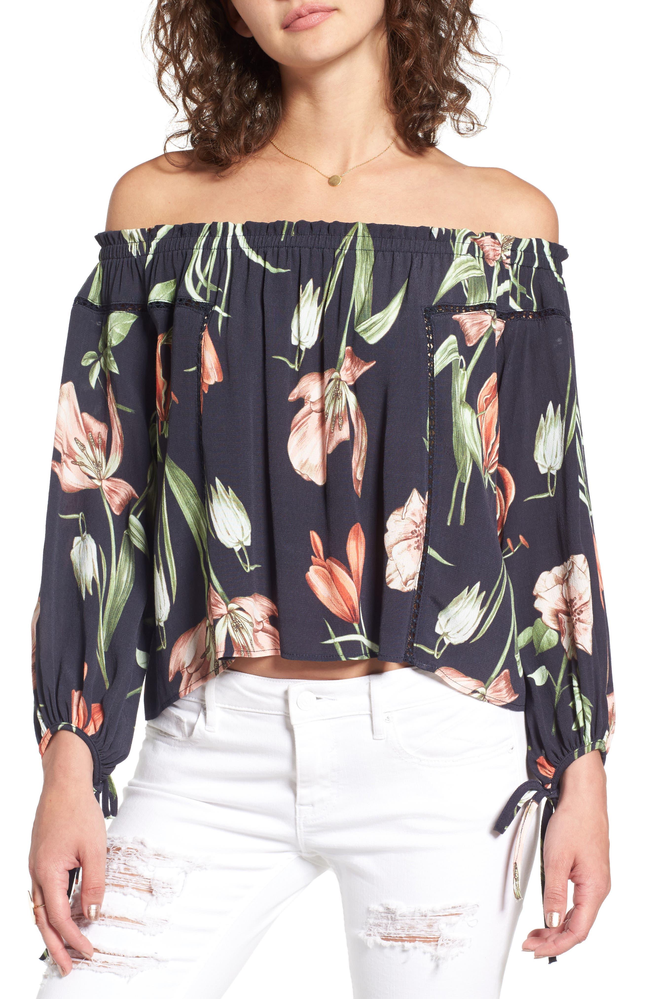 Chavelle Off the Shoulder Blouse,                         Main,                         color, Black Multi Floral
