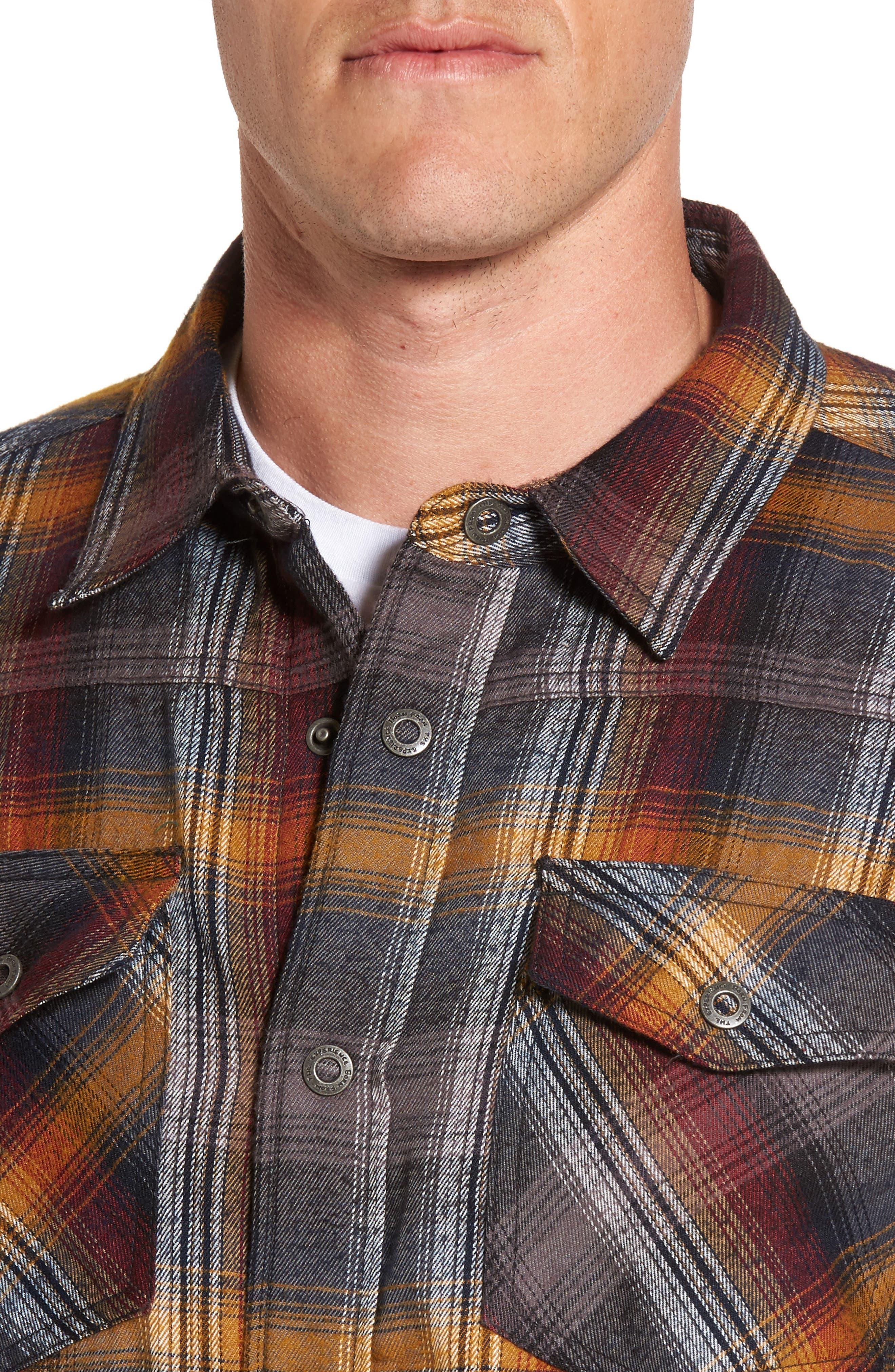 Asylum Regular Fit Plaid Shirt Jacket,                             Alternate thumbnail 4, color,                             Black