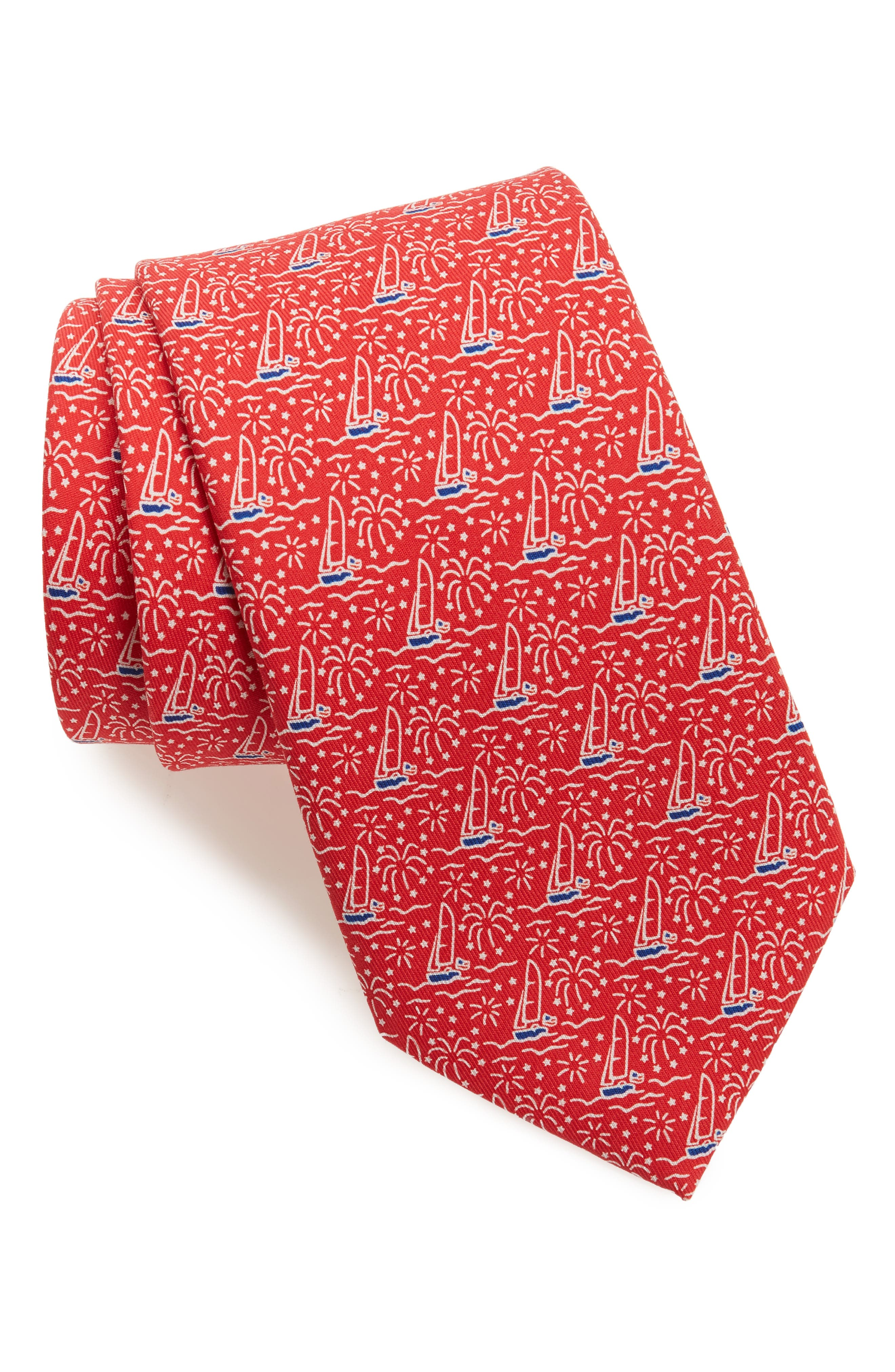 Sailing Silk Tie,                             Main thumbnail 1, color,                             Red