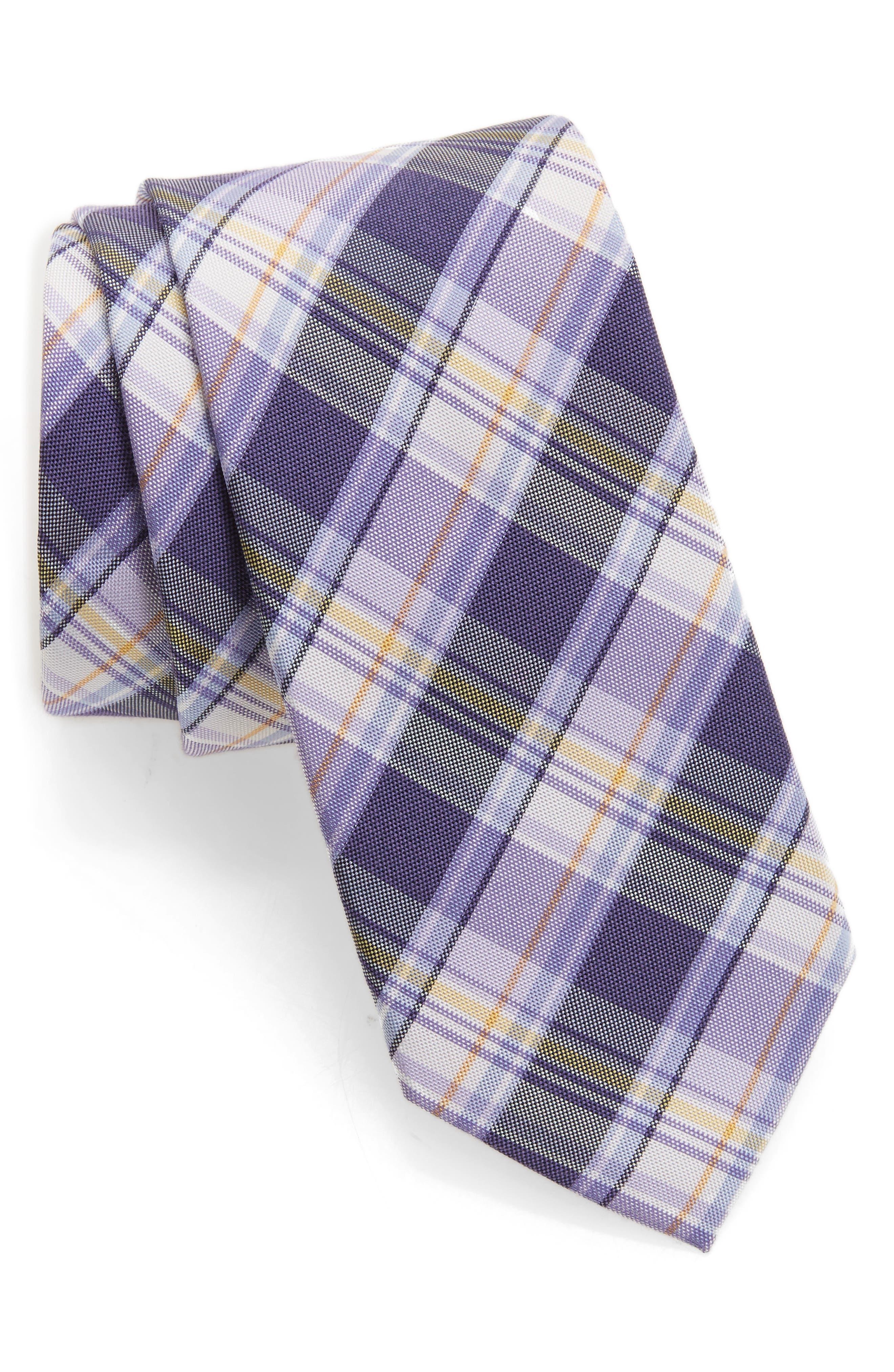 Plaid Silk & Cotton Tie,                         Main,                         color, Lilac