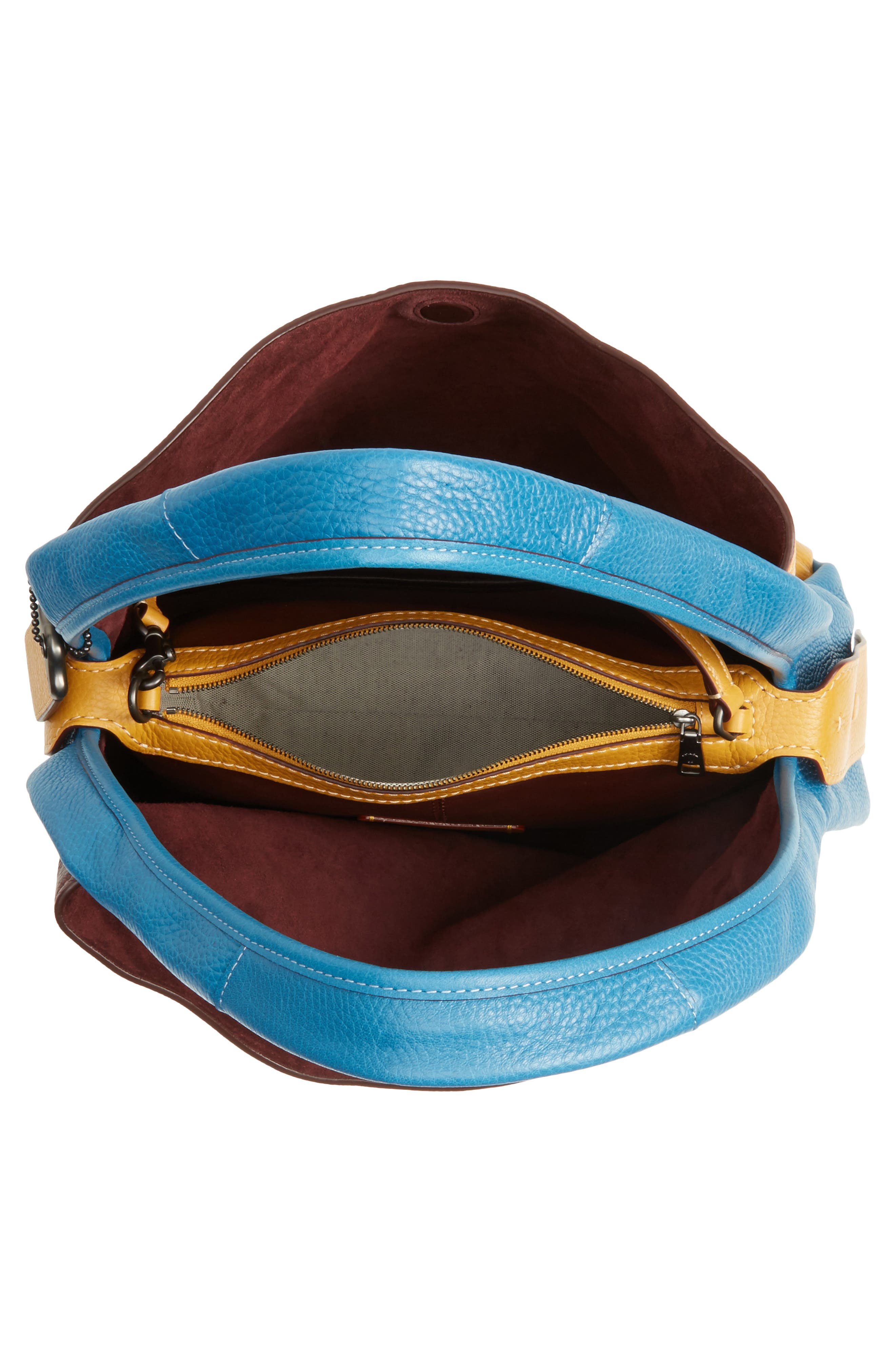 Colorblock Bandit Leather Hobo Bag,                             Alternate thumbnail 3, color,                             Goldenrod Multi