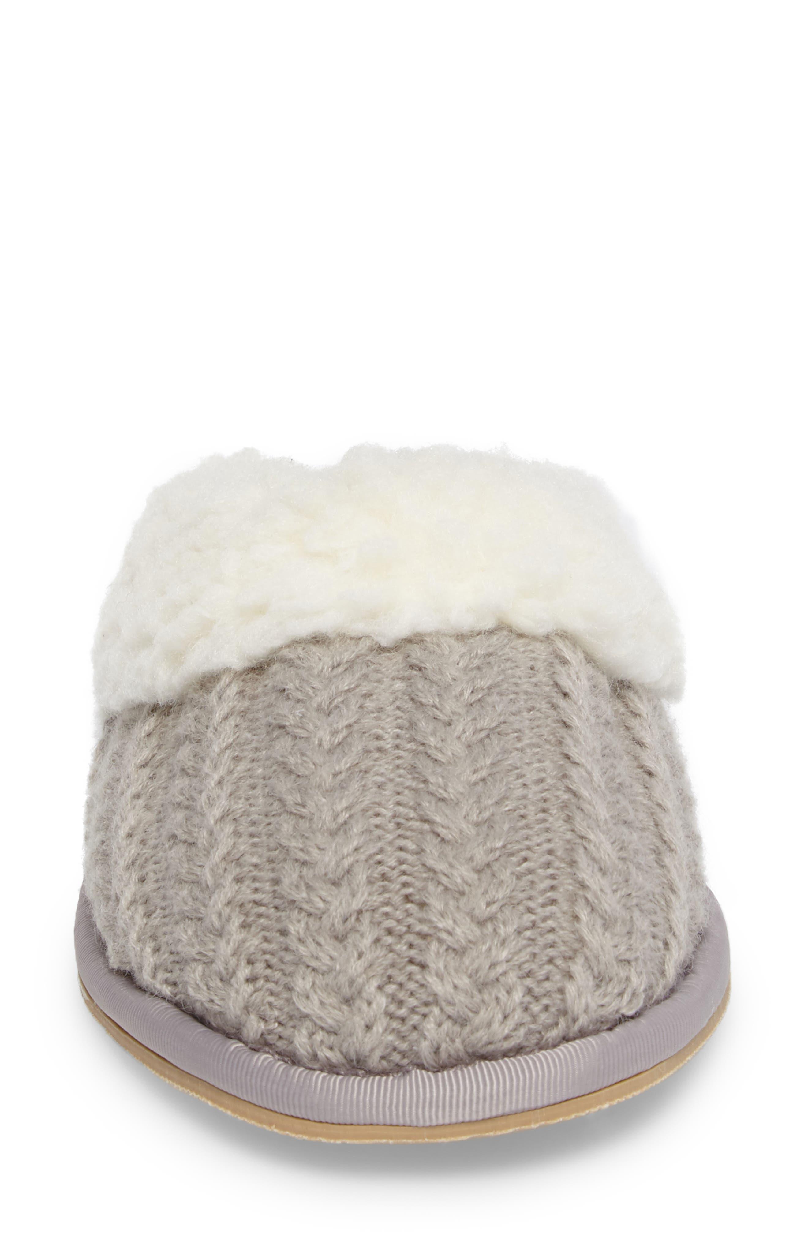 Celia Cable Knit Slipper,                             Alternate thumbnail 4, color,                             Grey Fabric