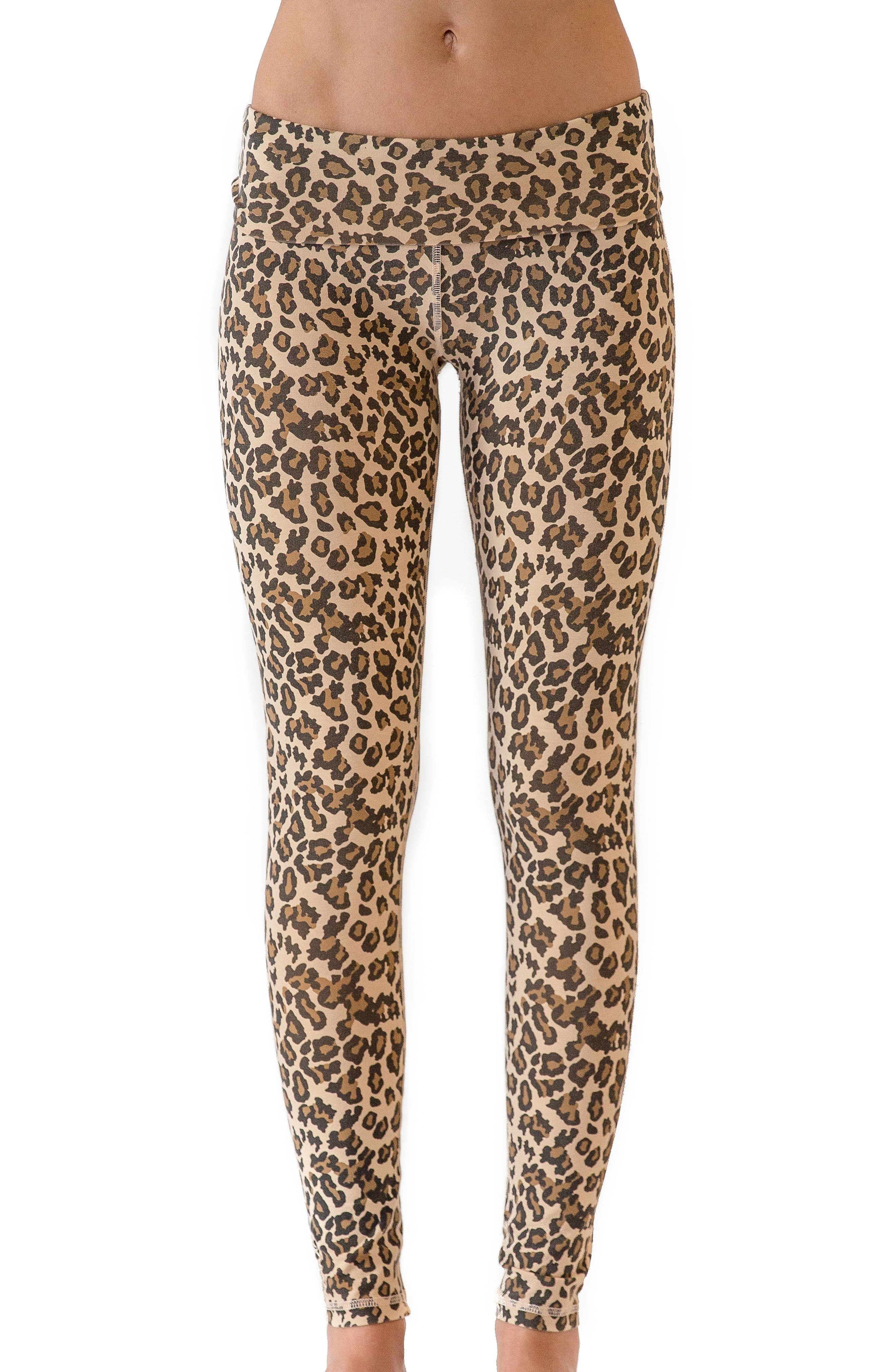 Leopard Print Leggings,                             Main thumbnail 1, color,                             Faded Camel