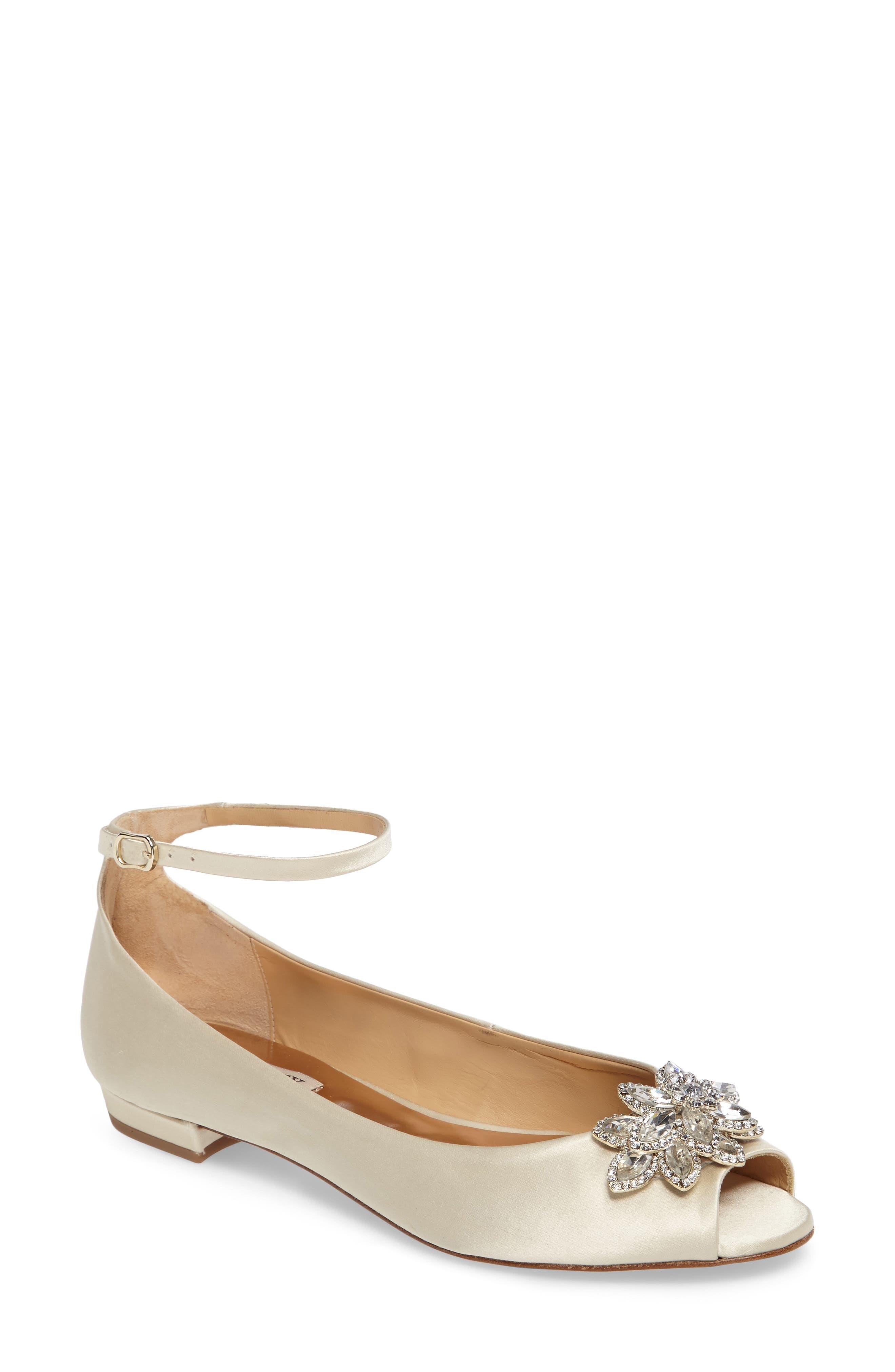 BADGLEY MISCHKA Kaidence Embellished Peep-Toe Flat