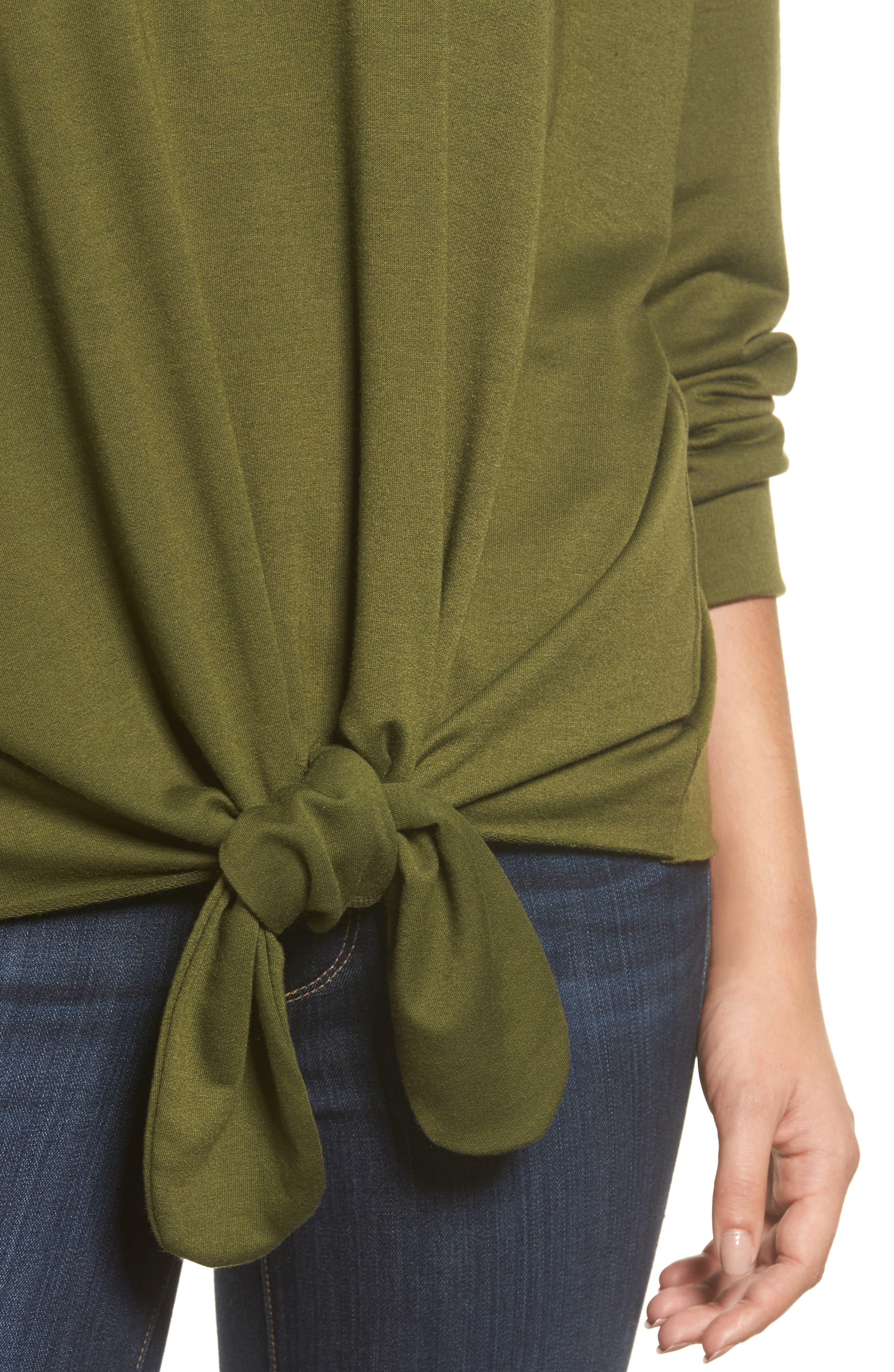 Alternate Image 4  - Caslon® Tie Front Sweatshirt (Regular & Petite)