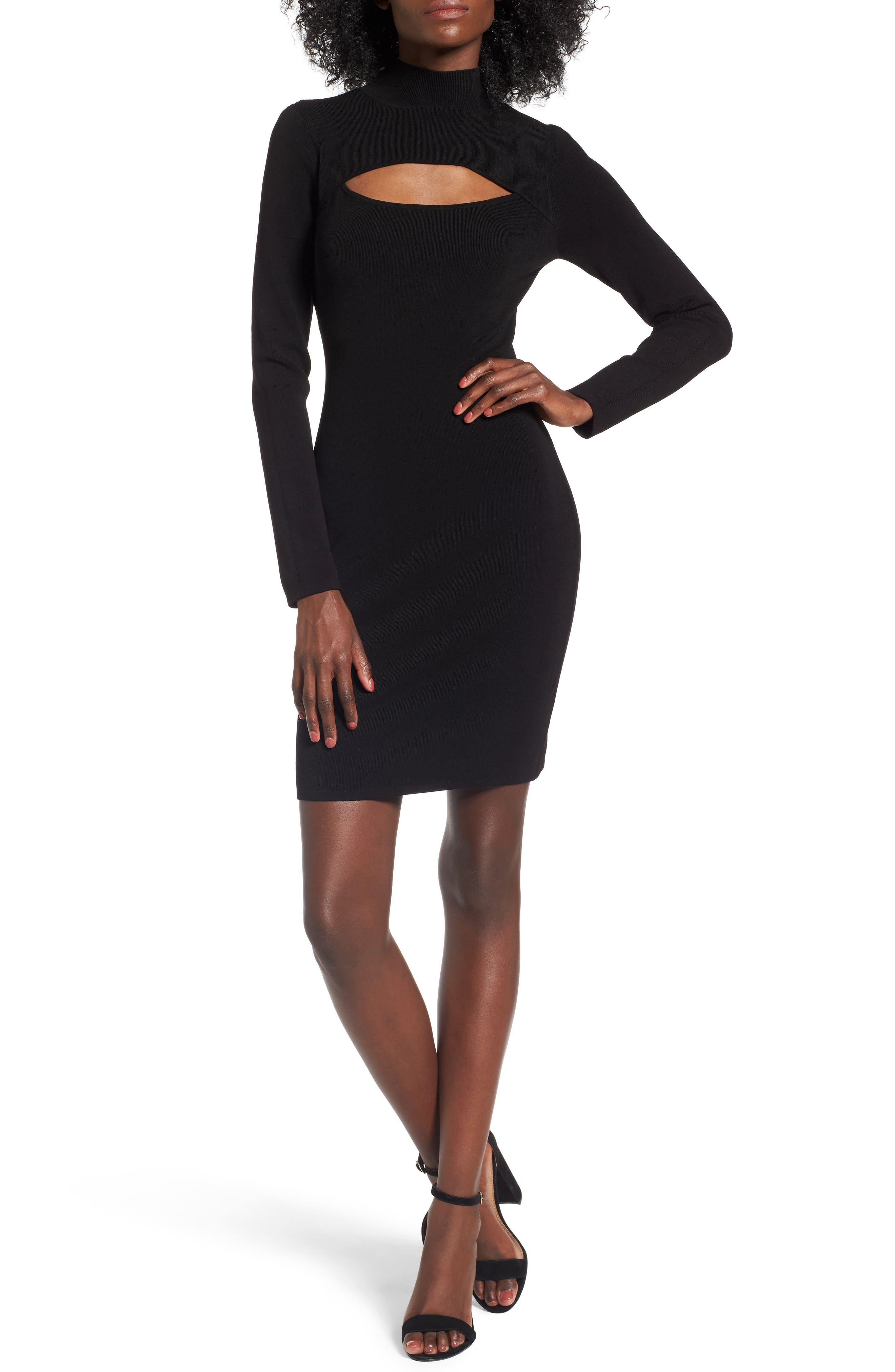 Keyhole Sweater Dress,                         Main,                         color, Black