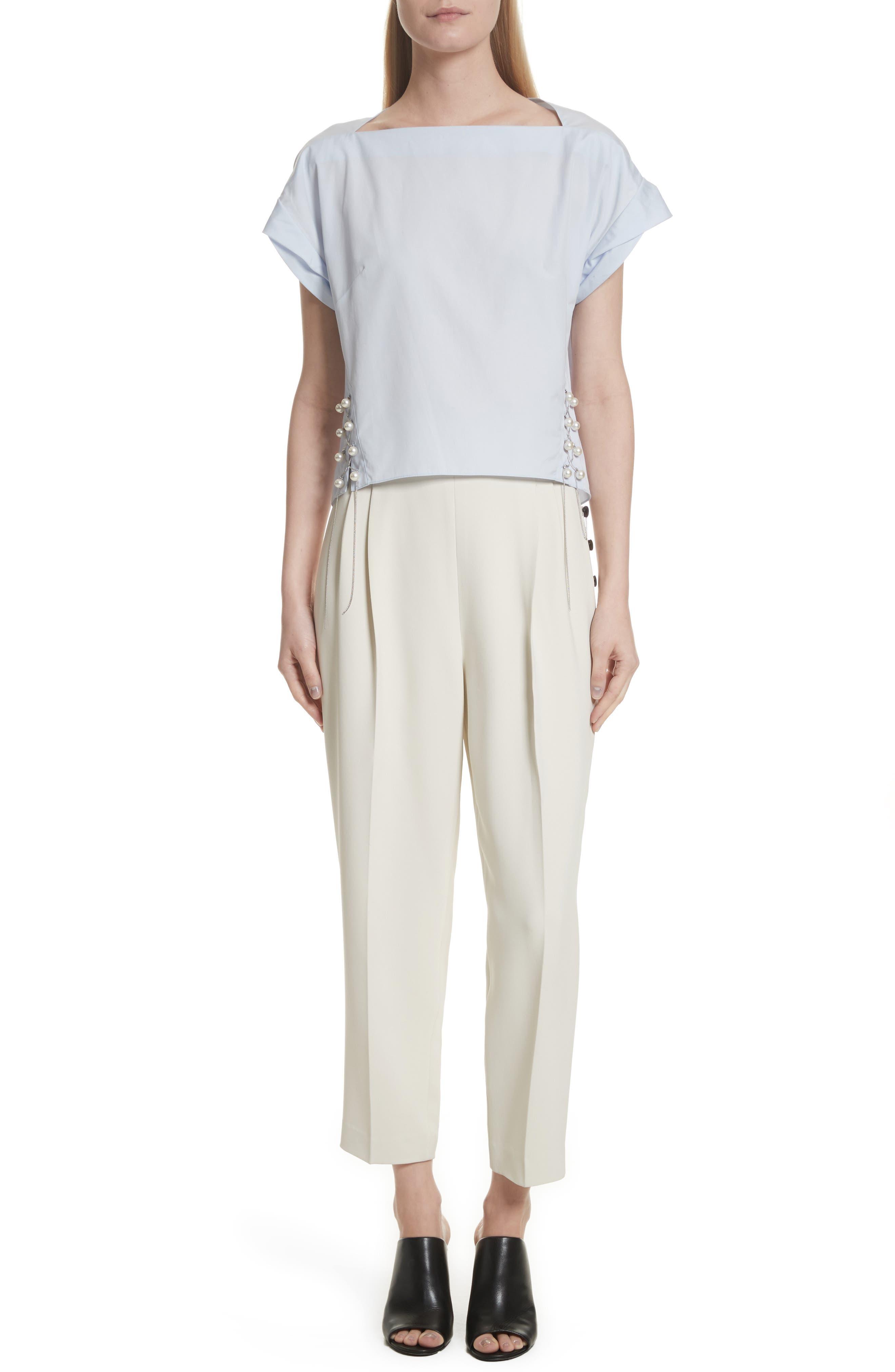Side Button Crop Pants,                             Alternate thumbnail 2, color,                             Light Cement
